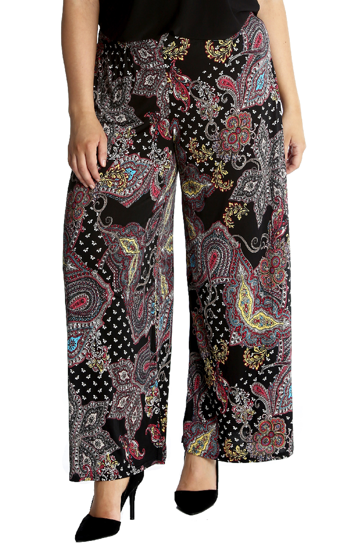 14981a5eb2a35 Details about New Womens Plus Size Trousers Ladies Paisley Print Palazzo  Pants Wide Leg Flared