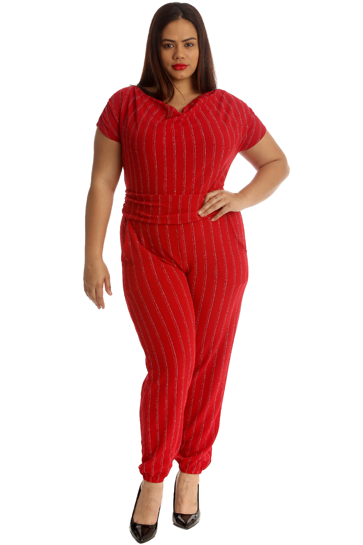 66bdac1ef6b New Ladies Jumpsuit Plus Size Womens Foil Stripe All in One Cowl ...
