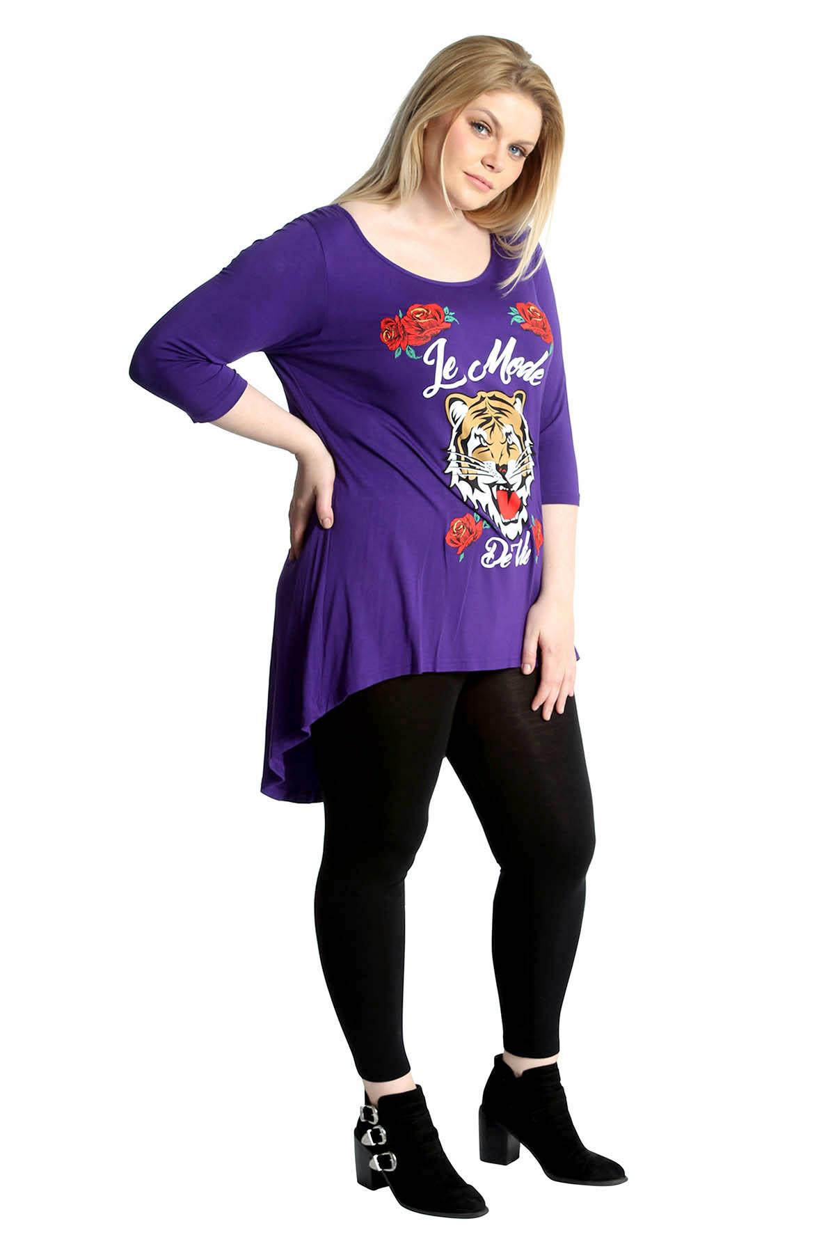 New-Womens-T-Shirt-Plus-Size-Ladies-Top-Tiger-Le-Mode-Print-Dip-Hem-Nouvelle