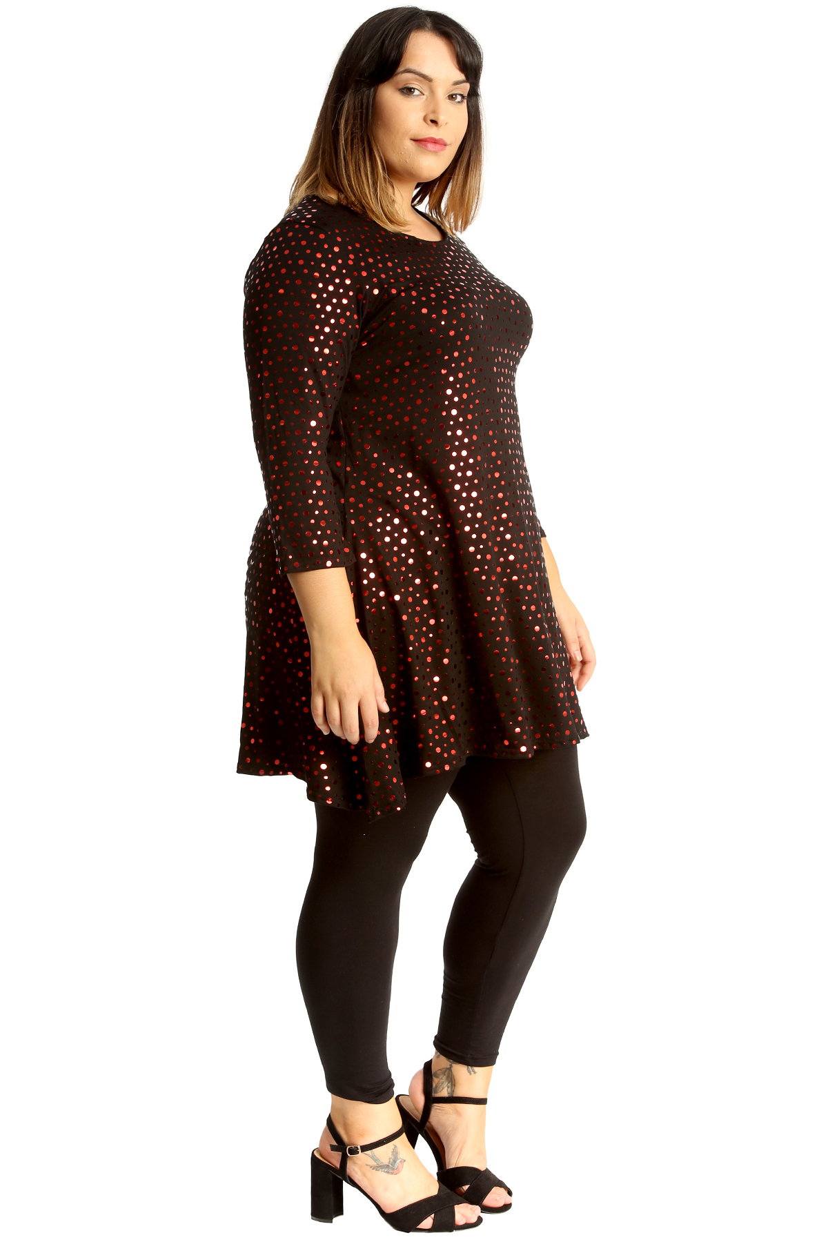 New Womens Plus Size Top Ladies Dot Foil Swing Style Skater Tunic Party Wear