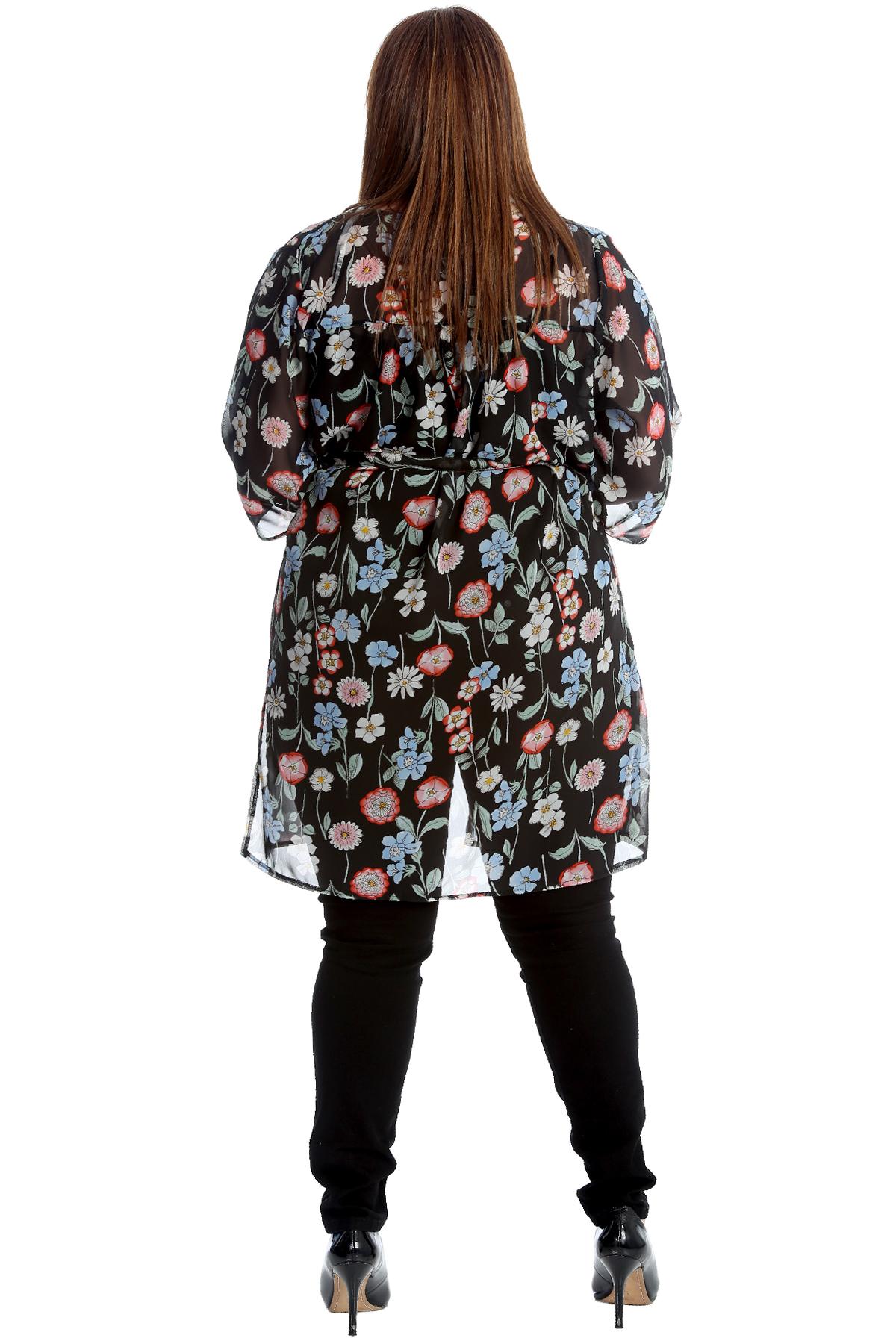 neue frauen bergr e strickjacke damen chiffon blumen druck krawatte vorne lang ebay. Black Bedroom Furniture Sets. Home Design Ideas