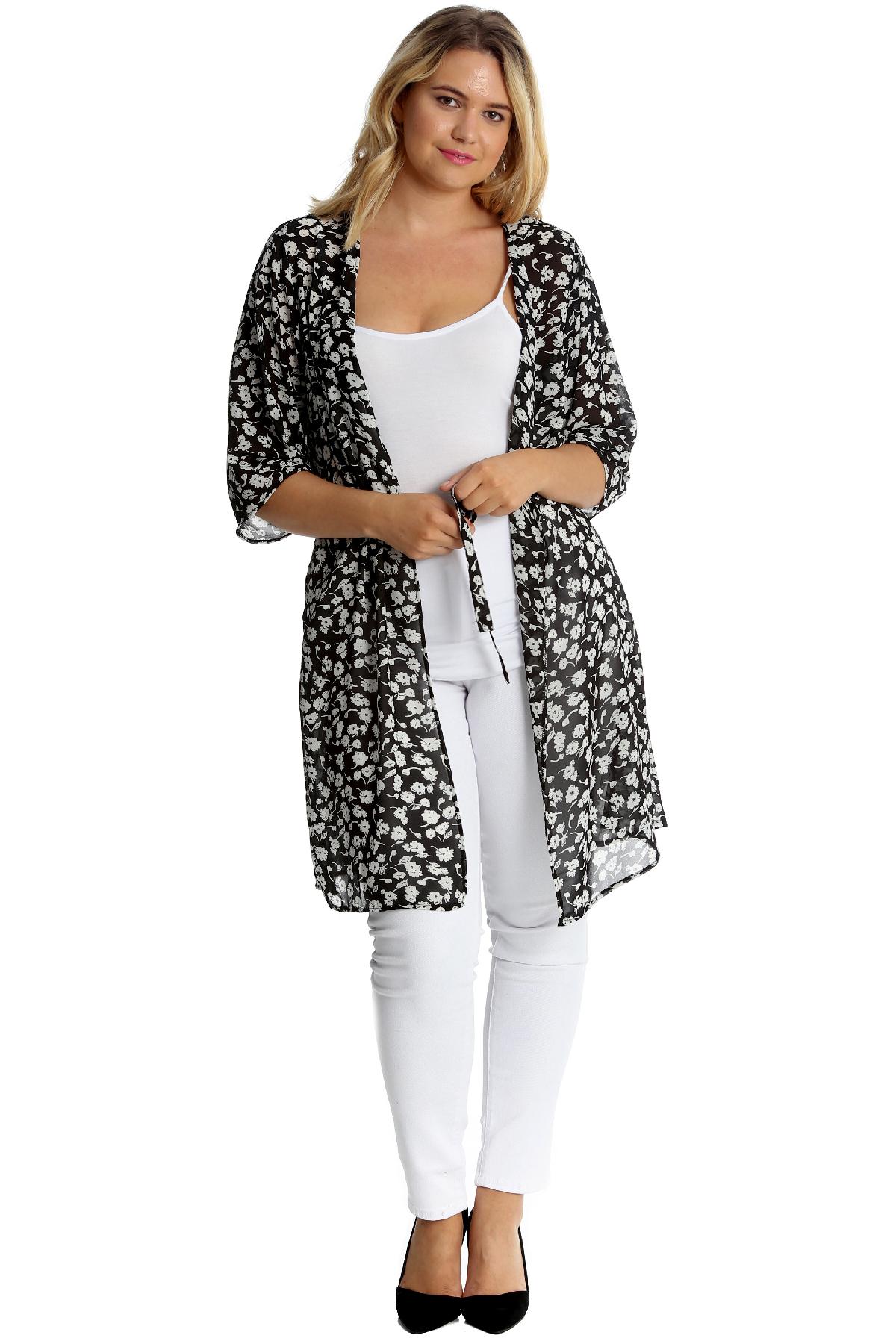 New Womens Plus Size Cardigan Ladies Floral Print Chiffon Front Tie Cardigan