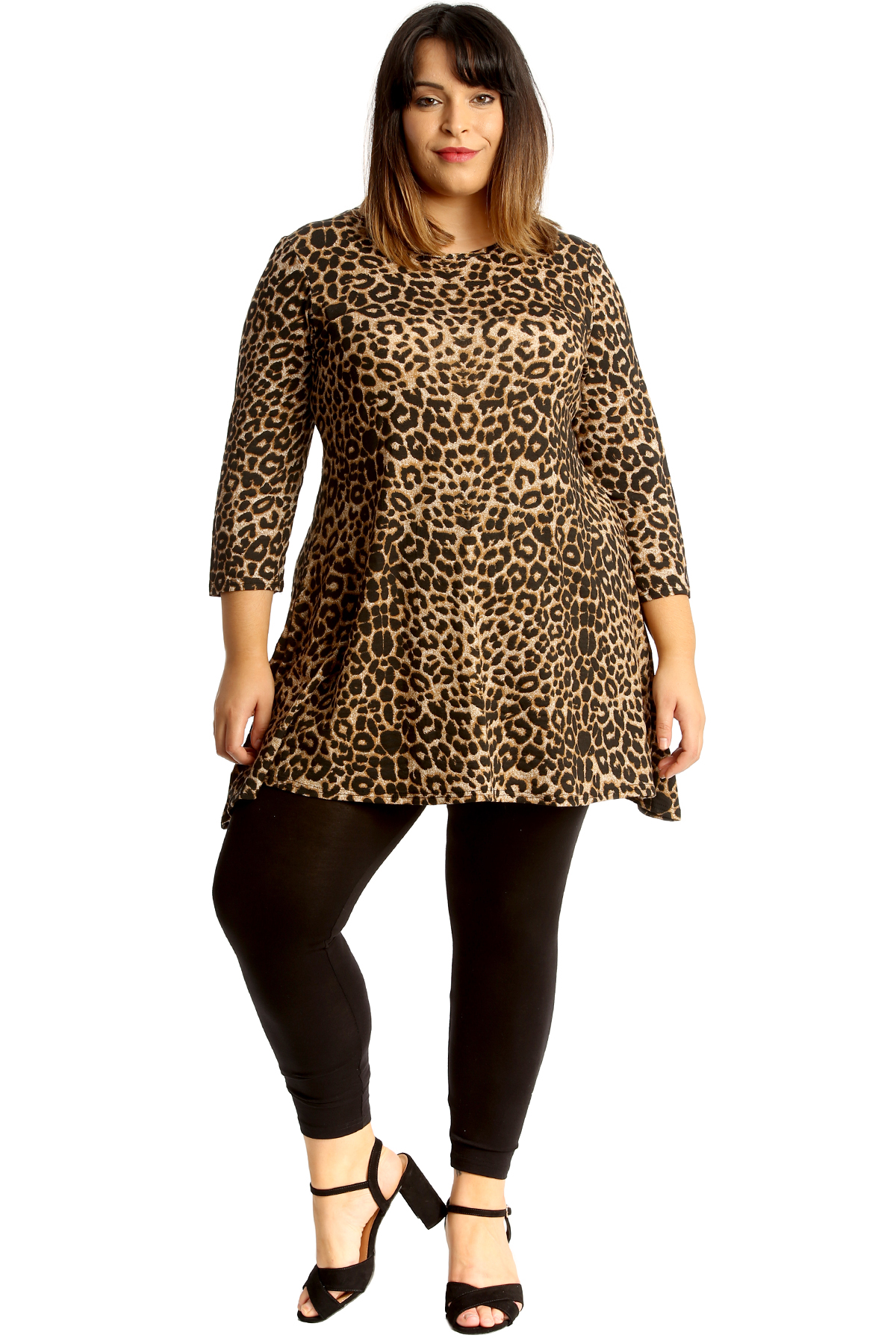 681ab736fa5 New Womens Plus Size Top Ladies Animal Leopard Print Tunic Swing ...