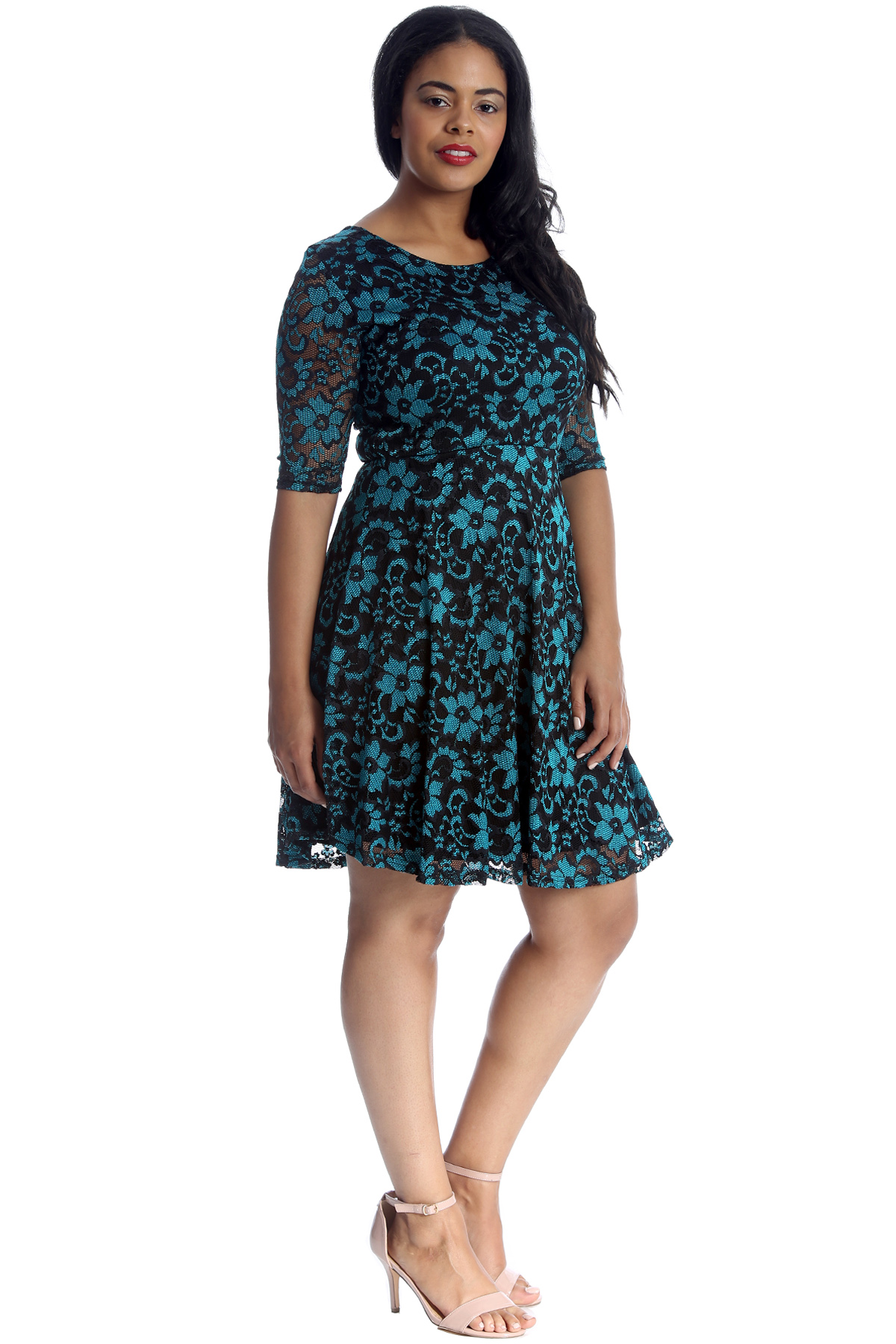 New Womens Plus Size Dress Ladies Skater Floral Lace 2 ...