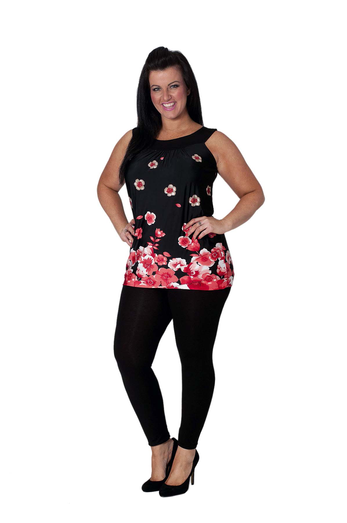2802375cc567b New Womens Plus Size Top Ladies Floral Poppy Print Tunic Bubble Hem ...