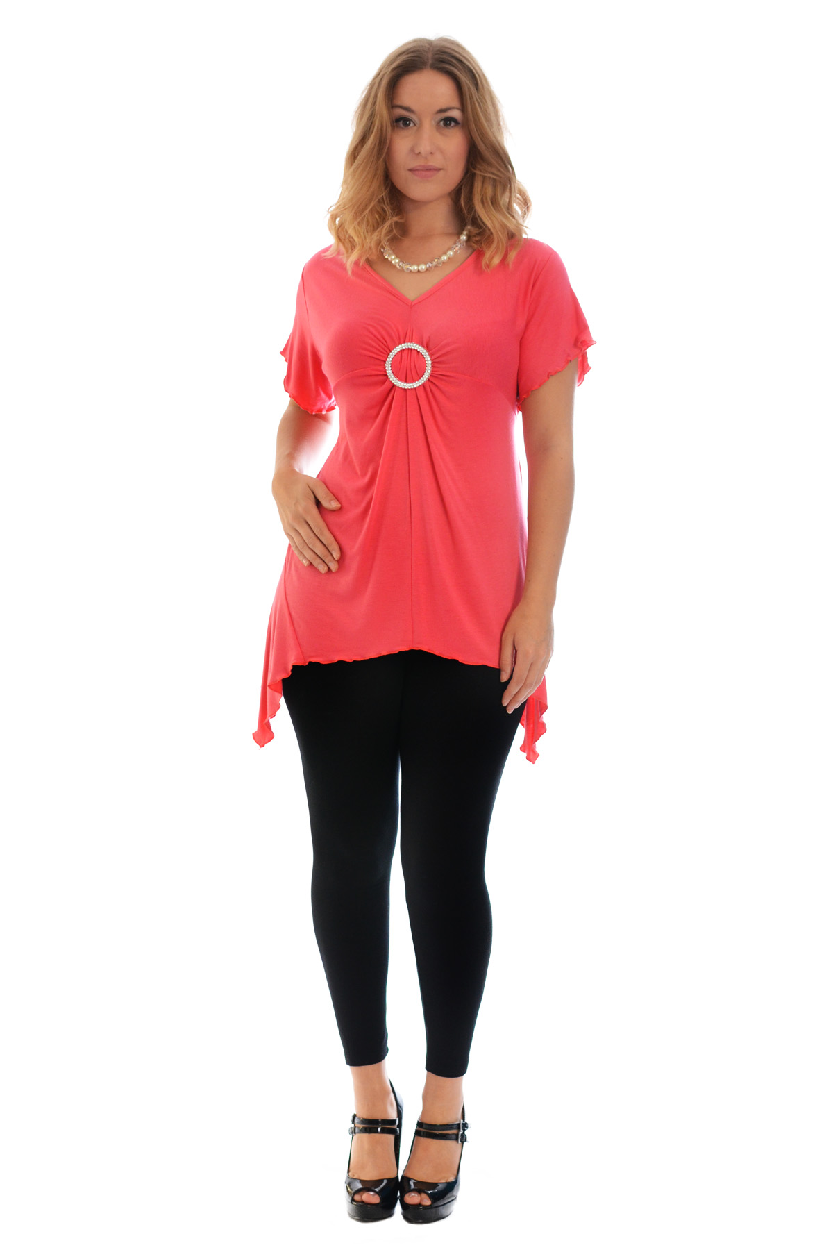 New-Womens-Plus-Size-Top-Ladies-T-Shirt-Buckle-Stud-A-Line-Asymmetric-Nouvelle thumbnail 52