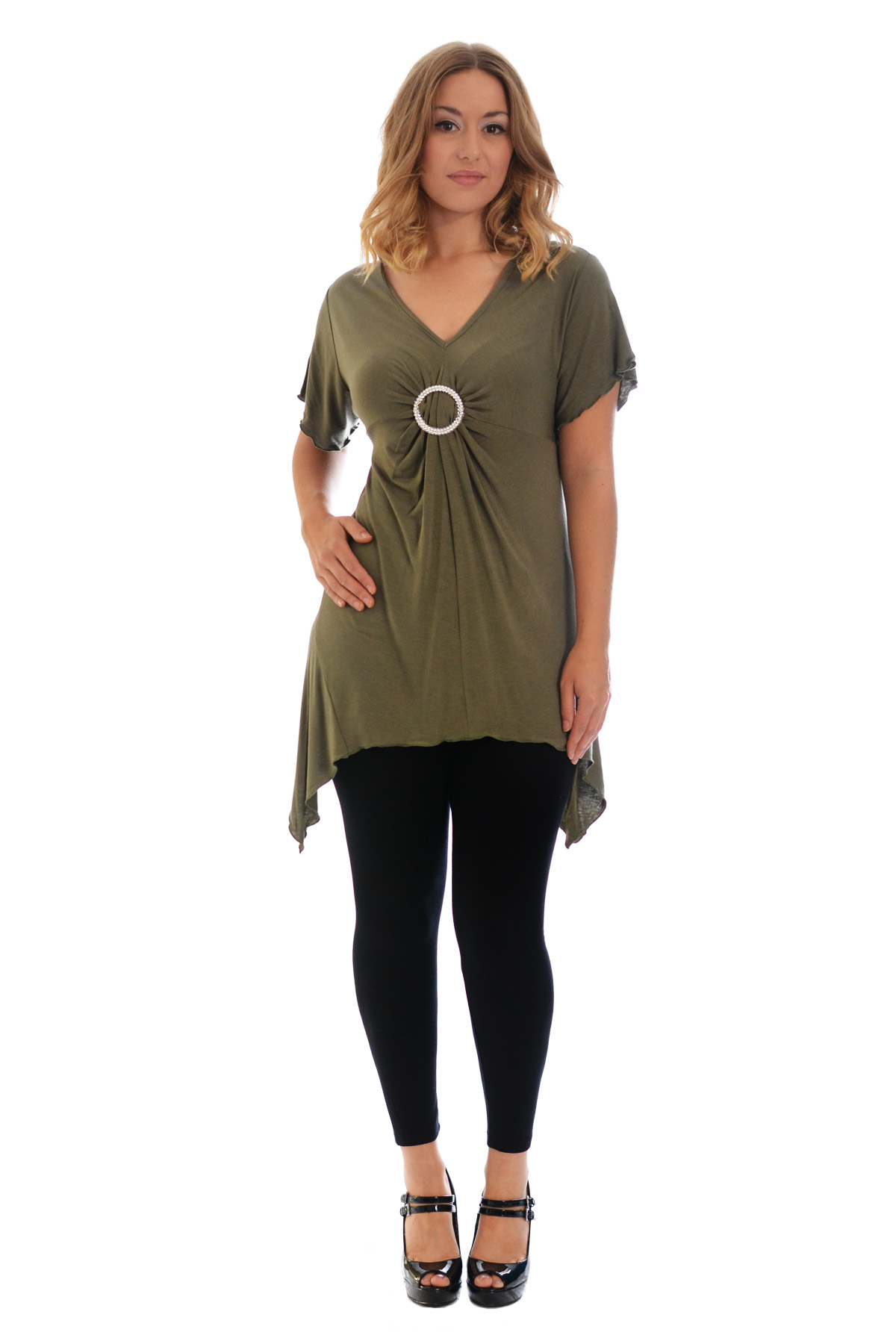 New-Womens-Plus-Size-Top-Ladies-T-Shirt-Buckle-Stud-A-Line-Asymmetric-Nouvelle thumbnail 40