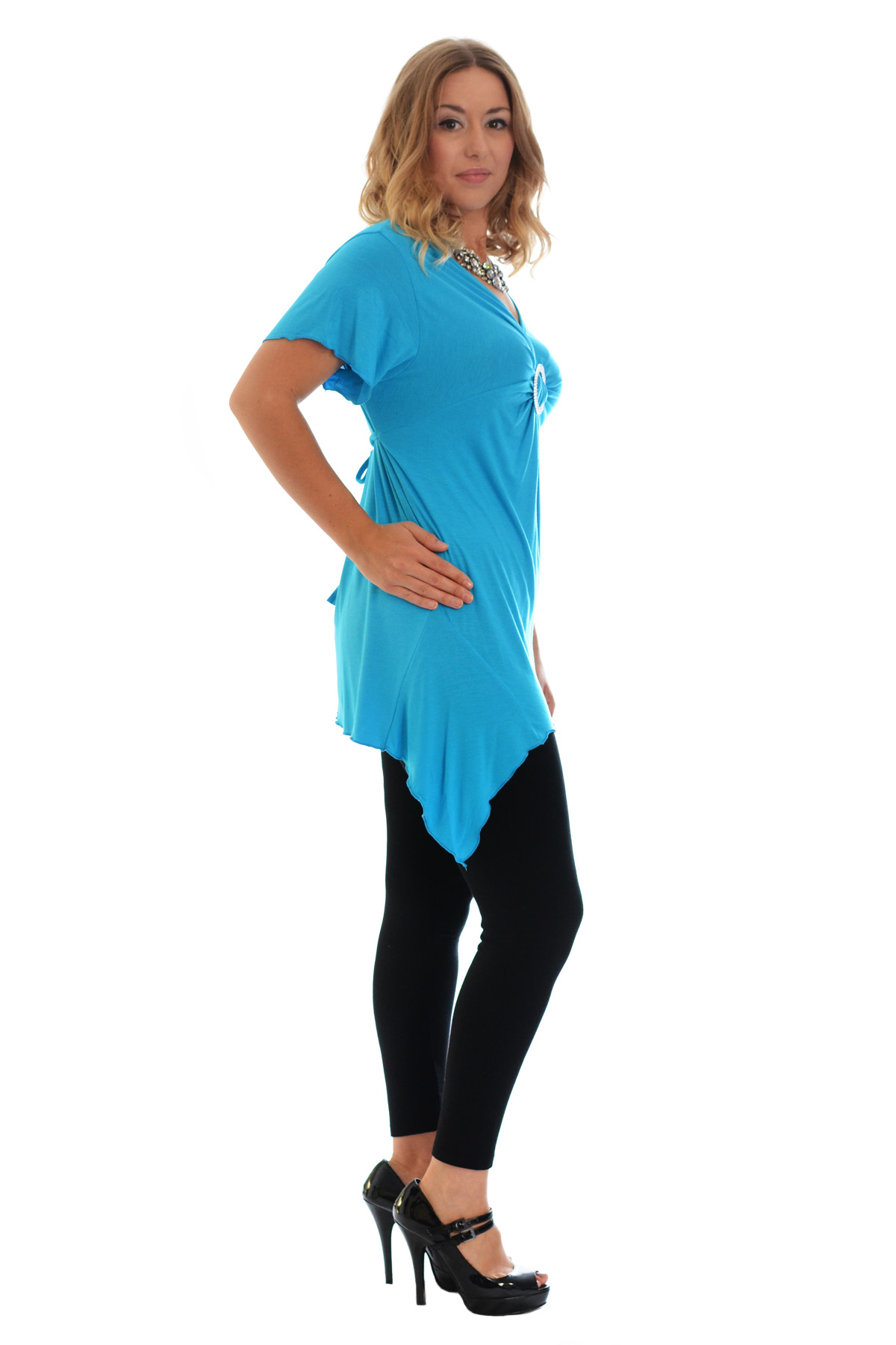 New-Womens-Plus-Size-Top-Ladies-T-Shirt-Buckle-Stud-A-Line-Asymmetric-Nouvelle thumbnail 35