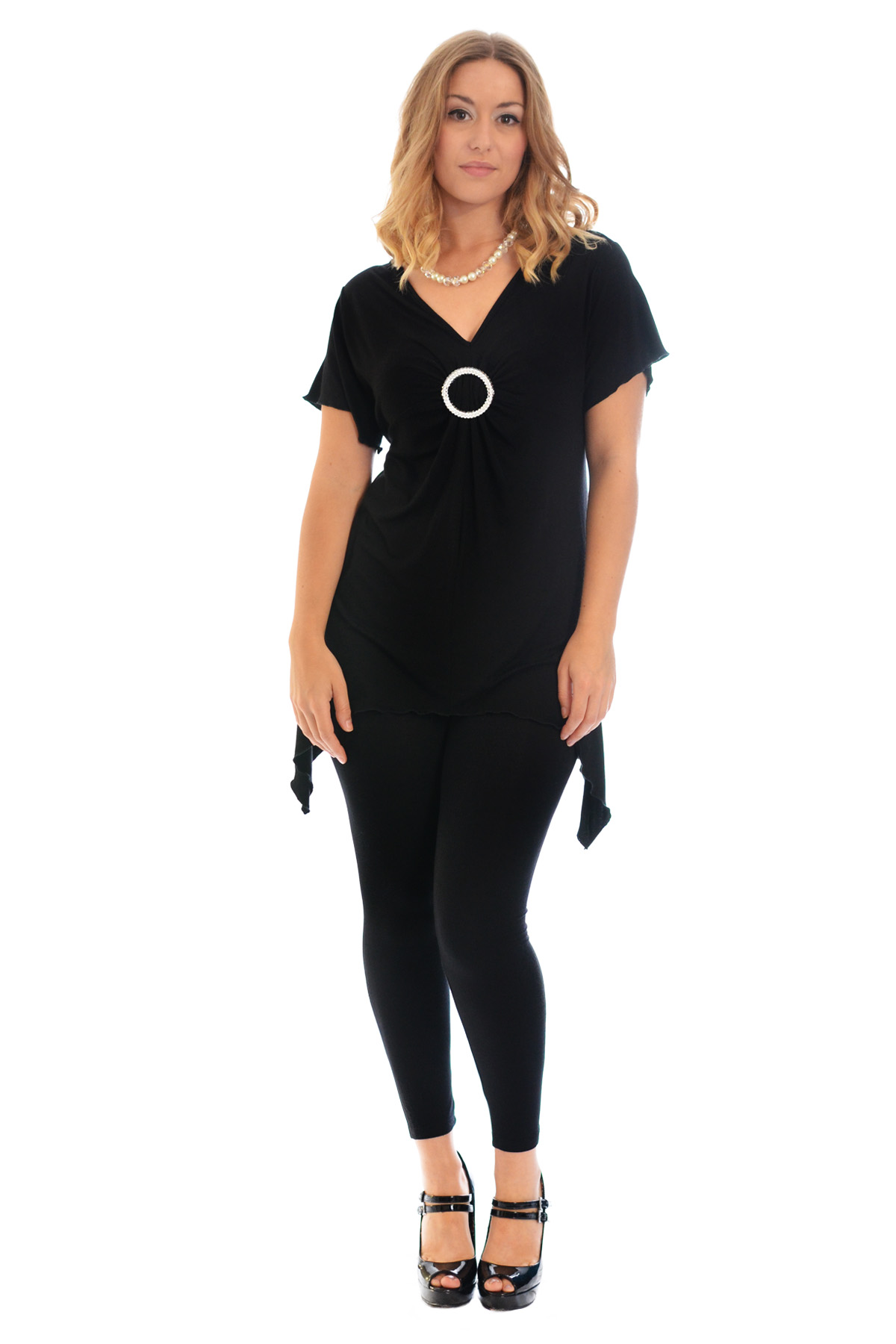New-Womens-Plus-Size-Top-Ladies-T-Shirt-Buckle-Stud-A-Line-Asymmetric-Nouvelle thumbnail 12
