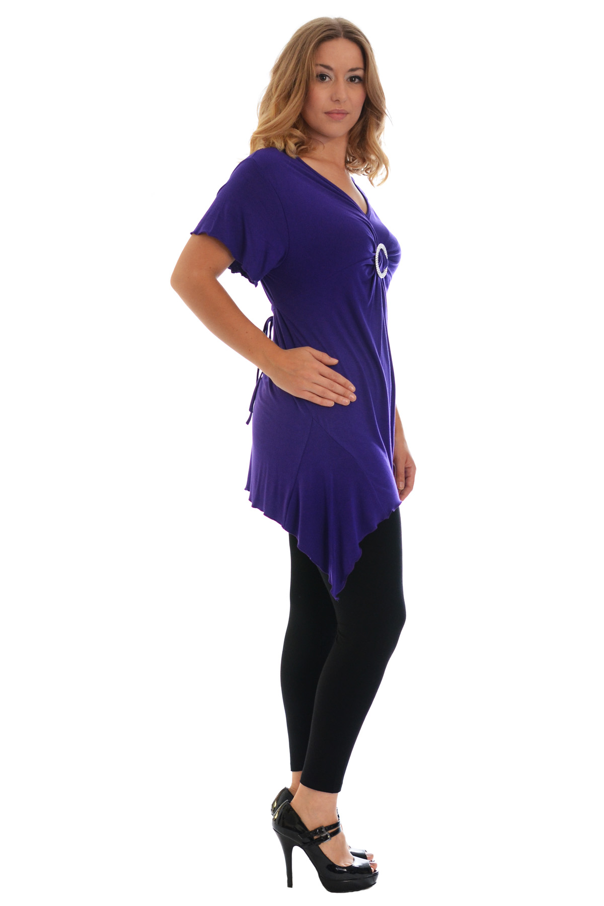 New-Womens-Plus-Size-Top-Ladies-T-Shirt-Buckle-Stud-A-Line-Asymmetric-Nouvelle thumbnail 20
