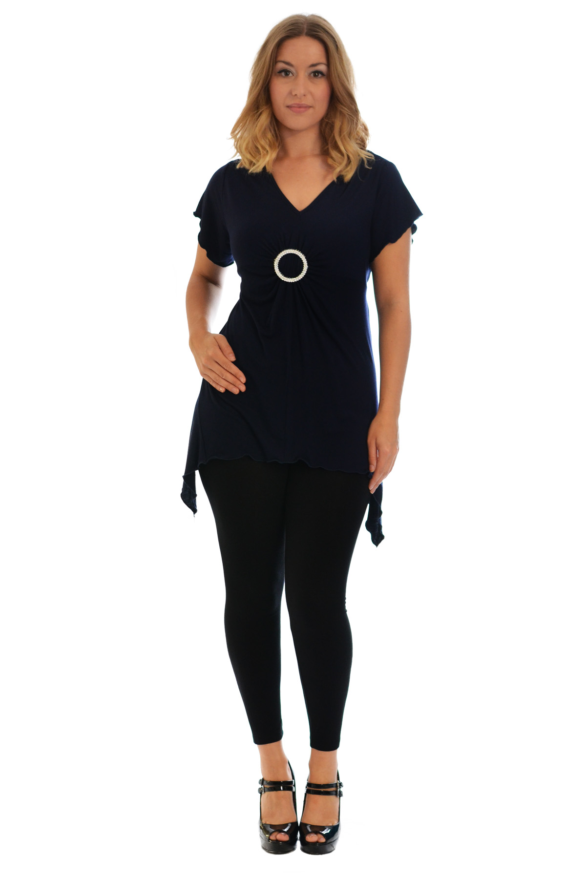 New-Womens-Plus-Size-Top-Ladies-T-Shirt-Buckle-Stud-A-Line-Asymmetric-Nouvelle thumbnail 44