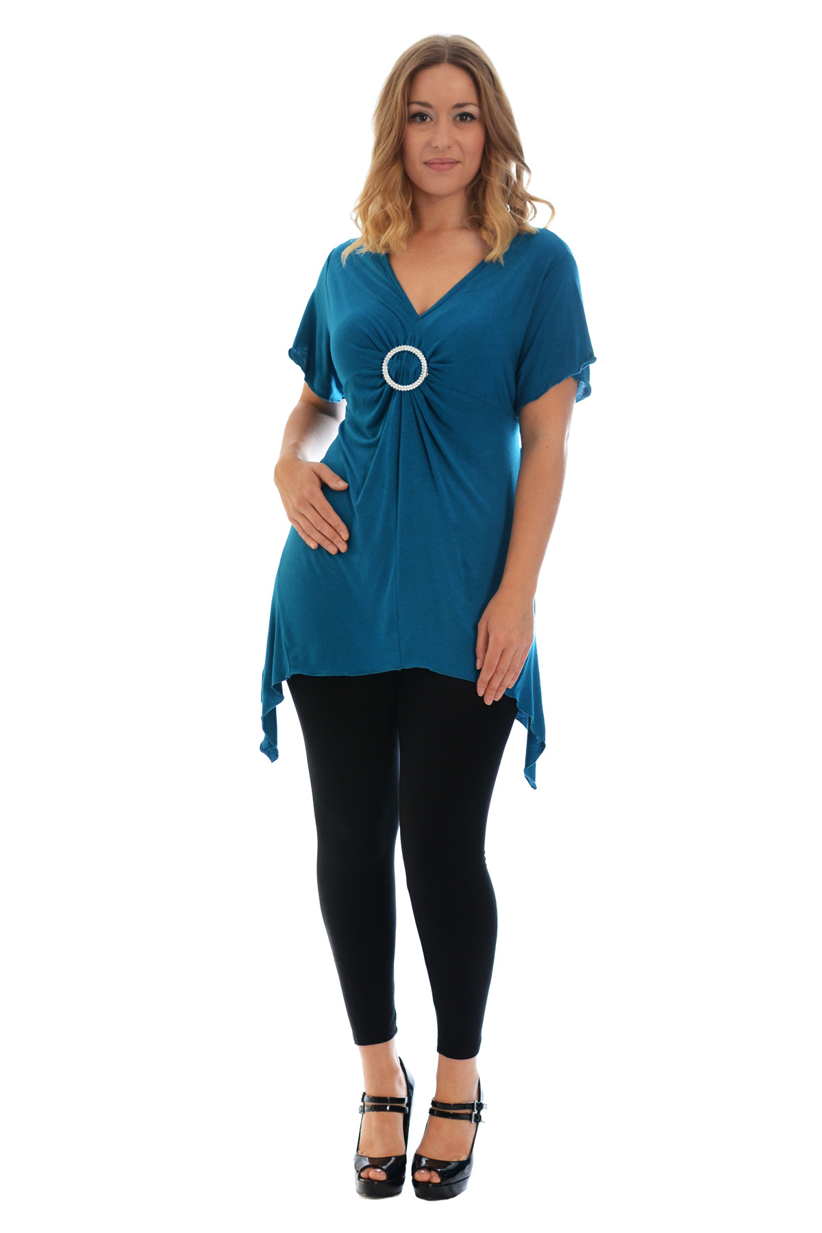 New-Womens-Plus-Size-Top-Ladies-T-Shirt-Buckle-Stud-A-Line-Asymmetric-Nouvelle thumbnail 66