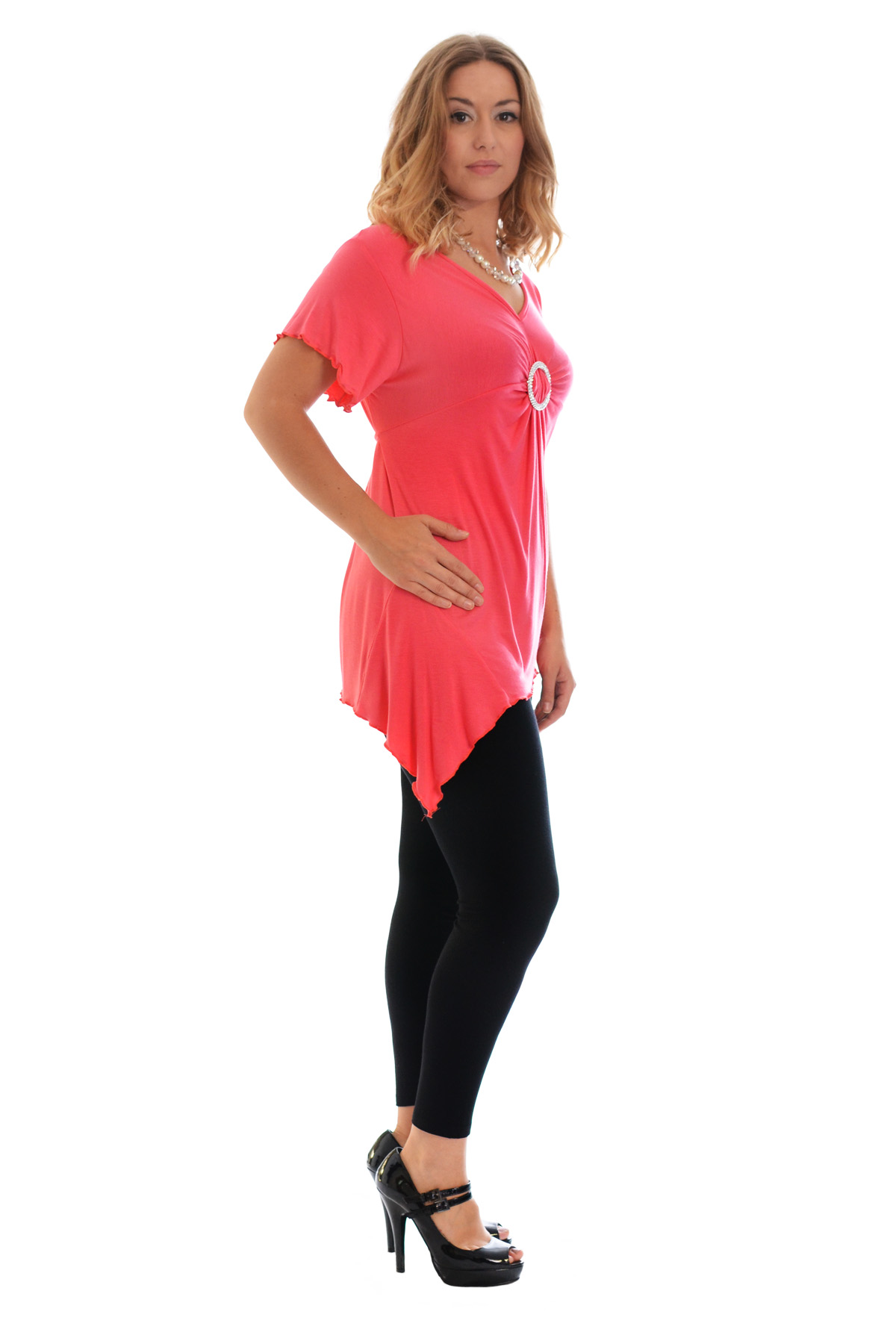 New-Womens-Plus-Size-Top-Ladies-T-Shirt-Buckle-Stud-A-Line-Asymmetric-Nouvelle thumbnail 51