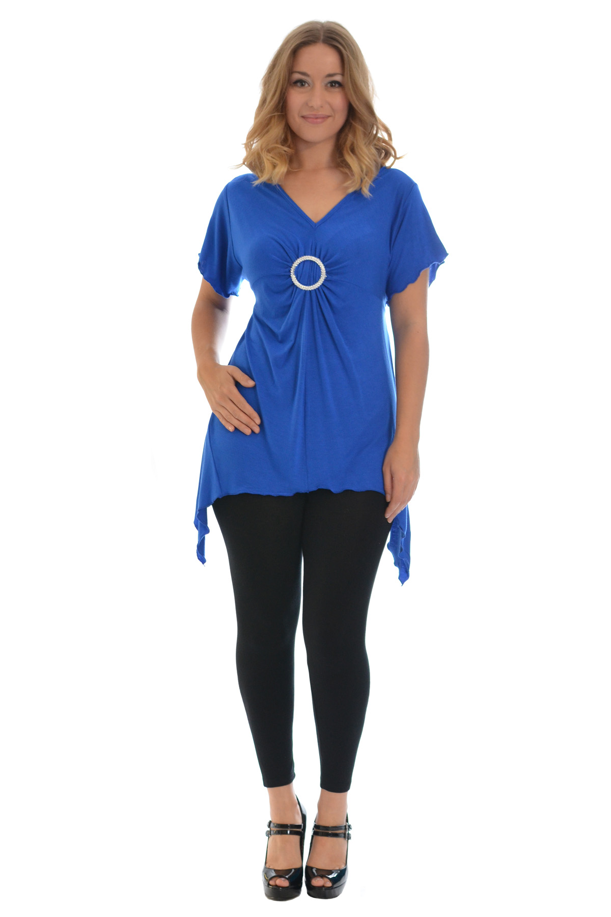 New-Womens-Plus-Size-Top-Ladies-T-Shirt-Buckle-Stud-A-Line-Asymmetric-Nouvelle thumbnail 25