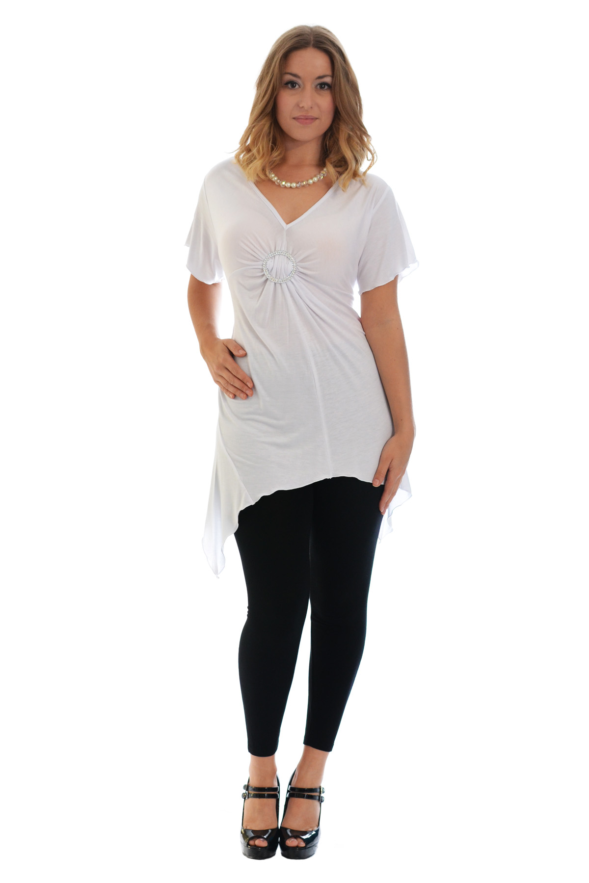 New-Womens-Plus-Size-Top-Ladies-T-Shirt-Buckle-Stud-A-Line-Asymmetric-Nouvelle thumbnail 32