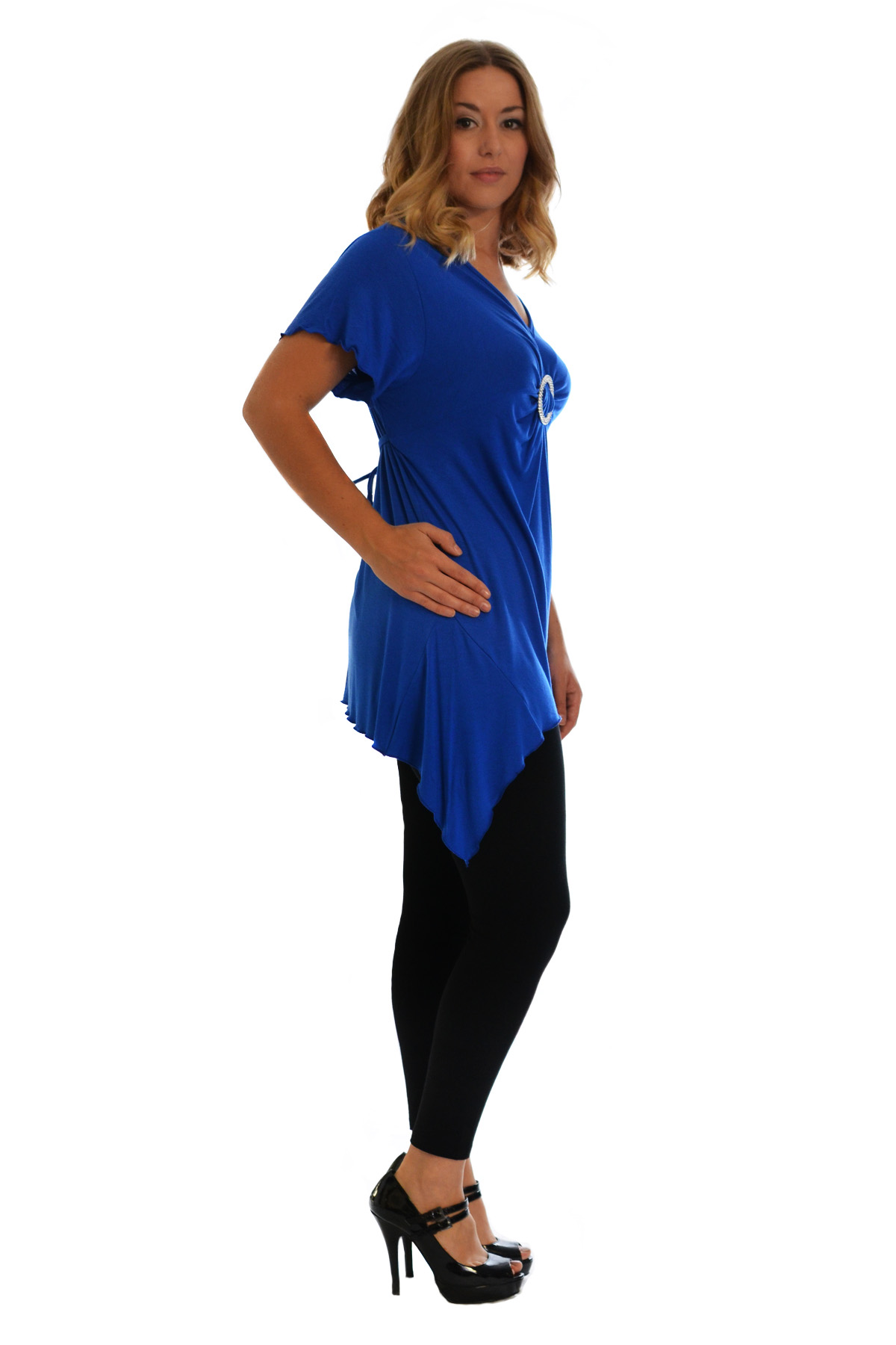 New-Womens-Plus-Size-Top-Ladies-T-Shirt-Buckle-Stud-A-Line-Asymmetric-Nouvelle thumbnail 24