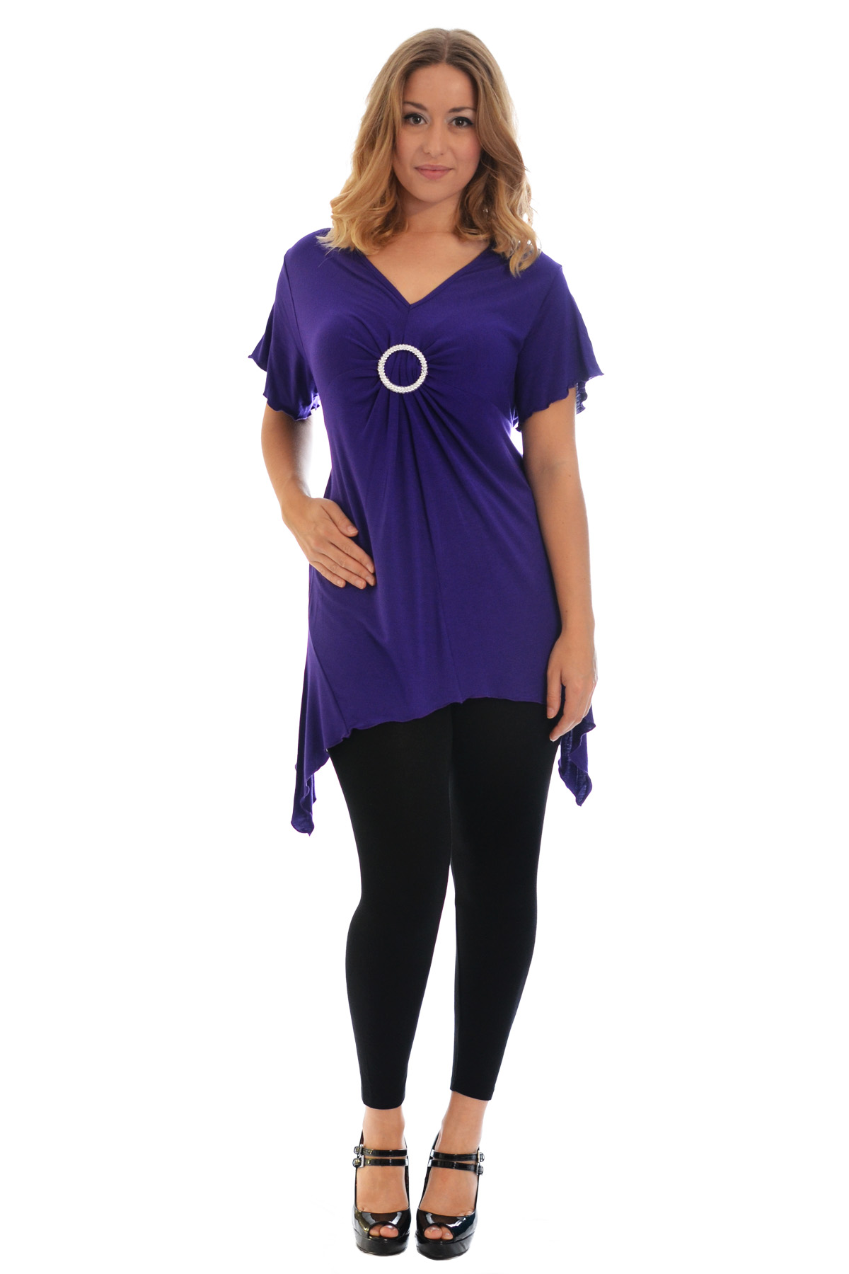 New-Womens-Plus-Size-Top-Ladies-T-Shirt-Buckle-Stud-A-Line-Asymmetric-Nouvelle thumbnail 21