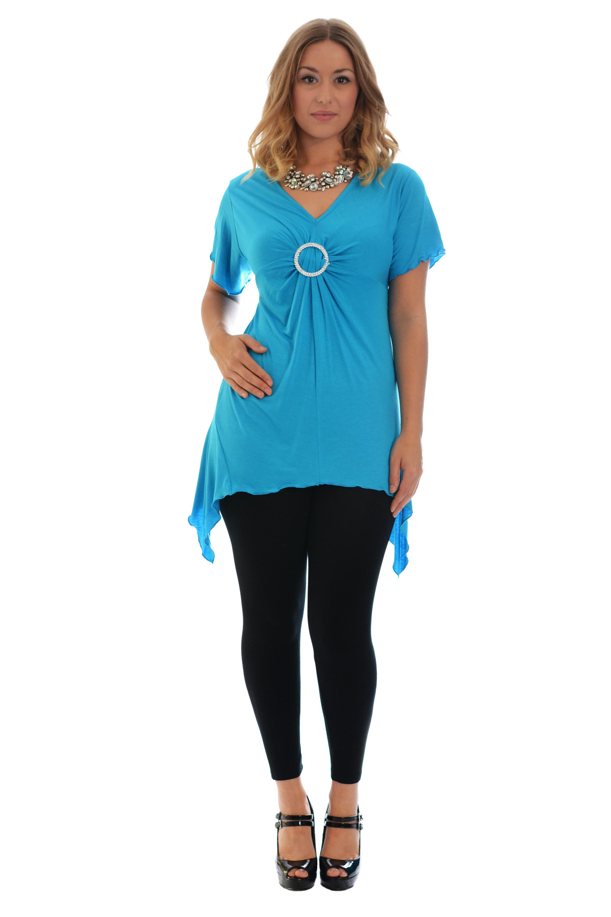 New-Womens-Plus-Size-Top-Ladies-T-Shirt-Buckle-Stud-A-Line-Asymmetric-Nouvelle thumbnail 36
