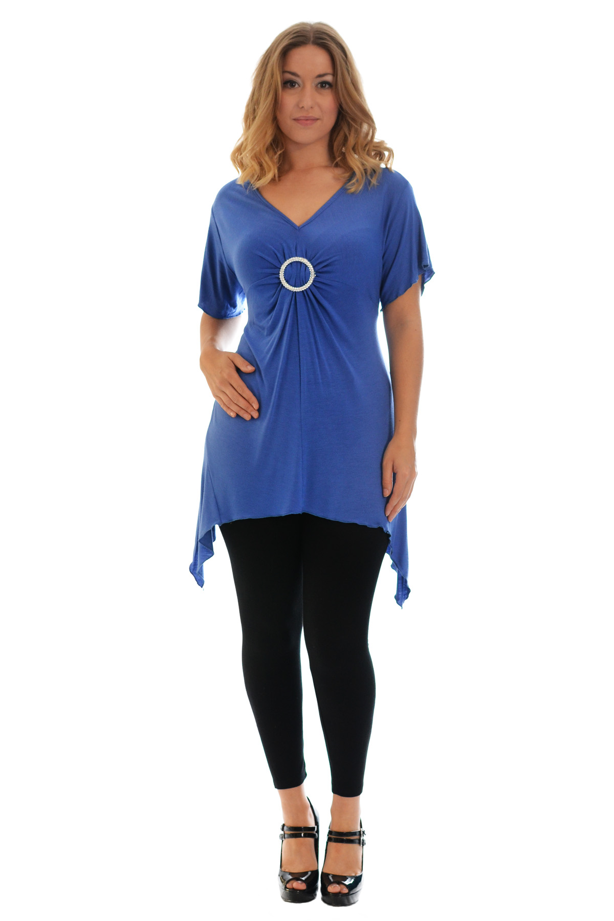 New-Womens-Plus-Size-Top-Ladies-T-Shirt-Buckle-Stud-A-Line-Asymmetric-Nouvelle thumbnail 73