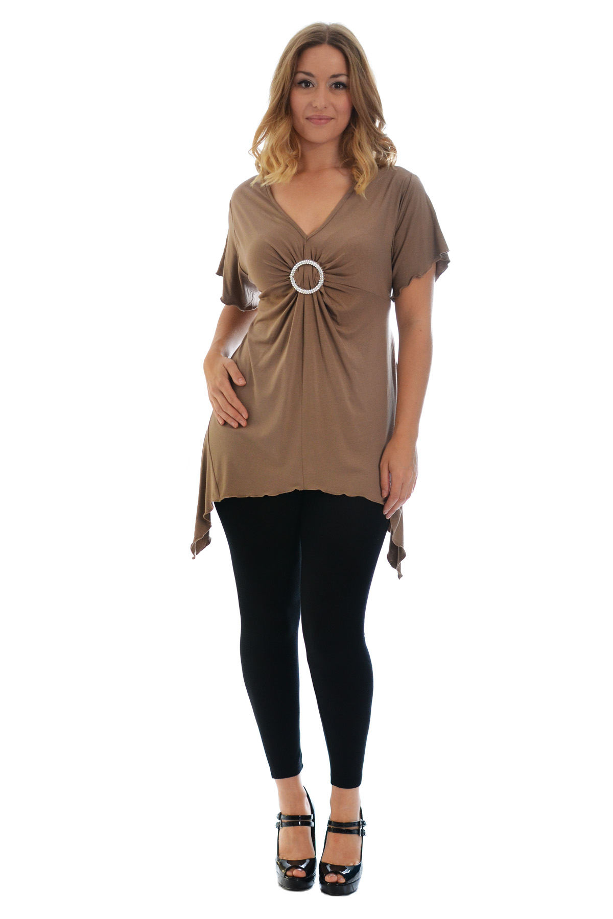 New-Womens-Plus-Size-Top-Ladies-T-Shirt-Buckle-Stud-A-Line-Asymmetric-Nouvelle thumbnail 17