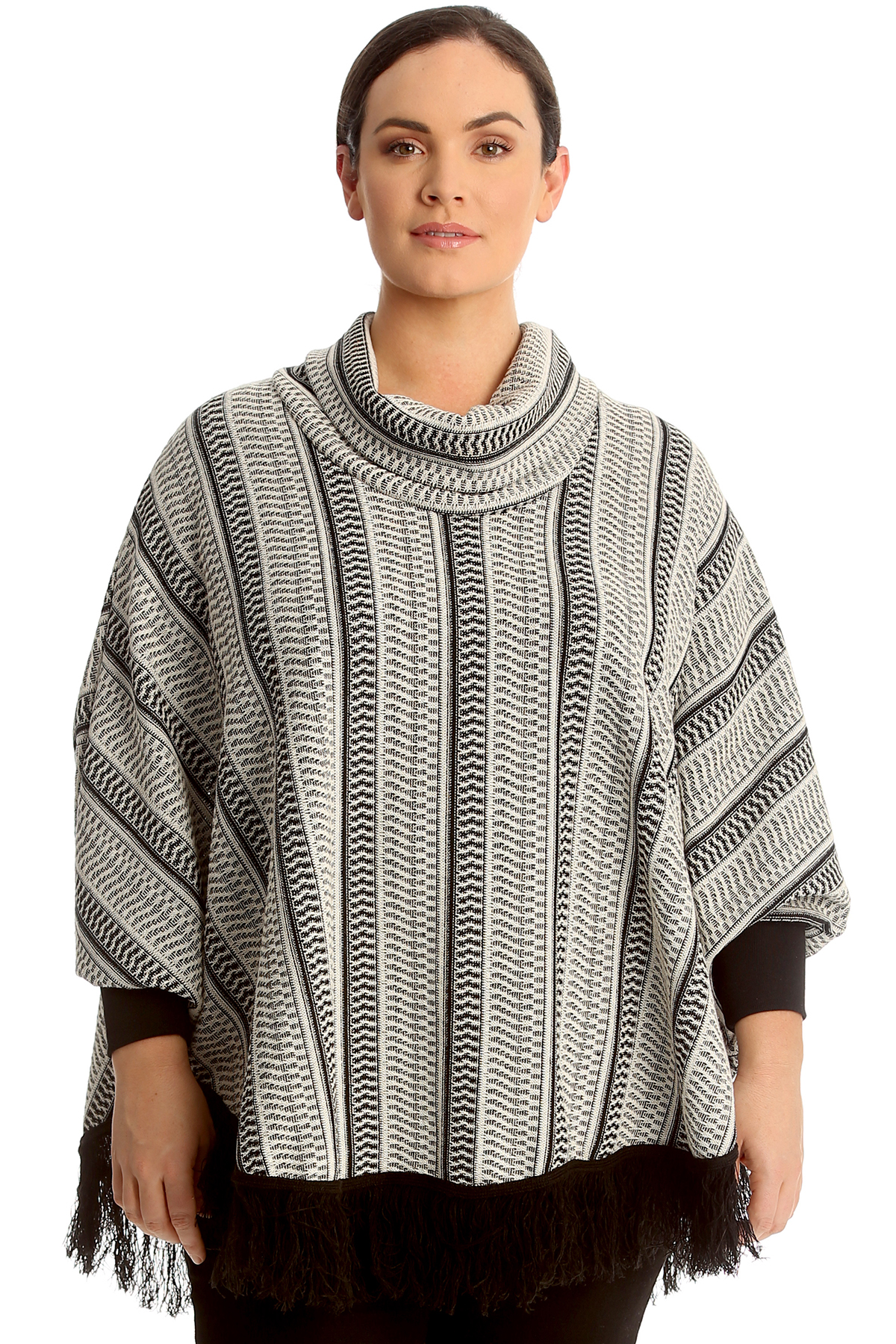 c45f3f516a7 Details about New Womens Plus Size Poncho Ladies Textured Cowl Neck Ribbed  Top Frill Hem Warm