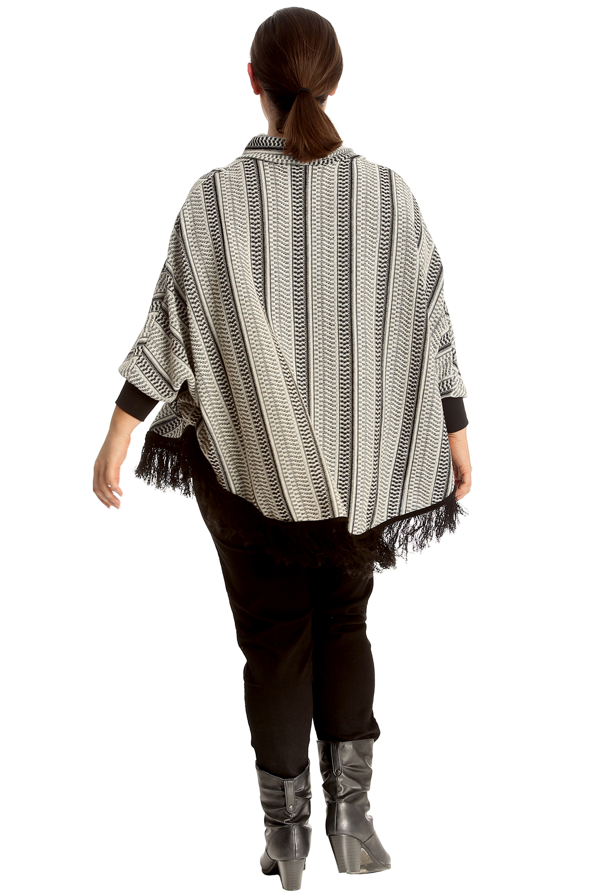Neck Size Cowl Ladies caldo Hem Womens Frill New a Top Plus Textured Poncho coste TaApq