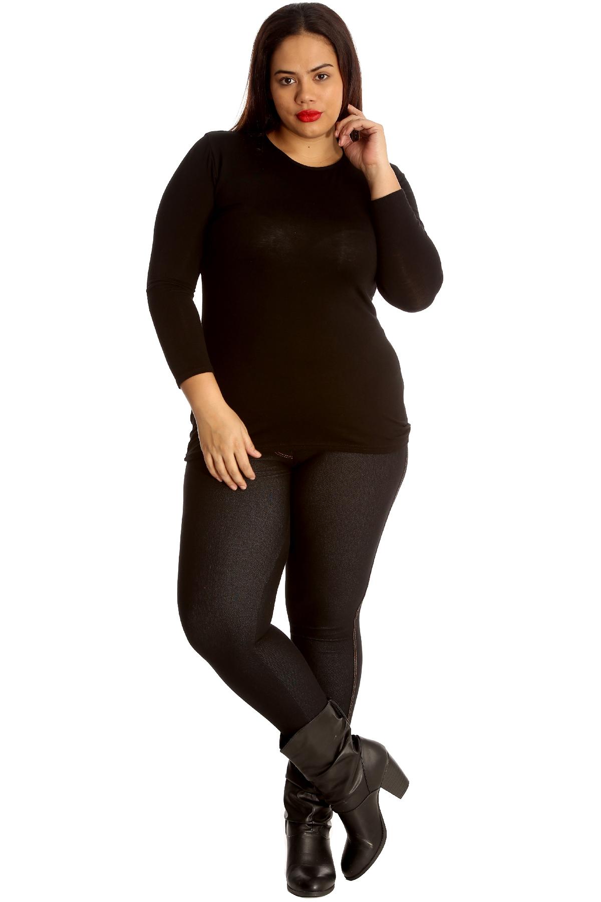 New Womens Plus Size Jeggings Ladies Leggings Plain Faux Jeans Tregging Nouvelle