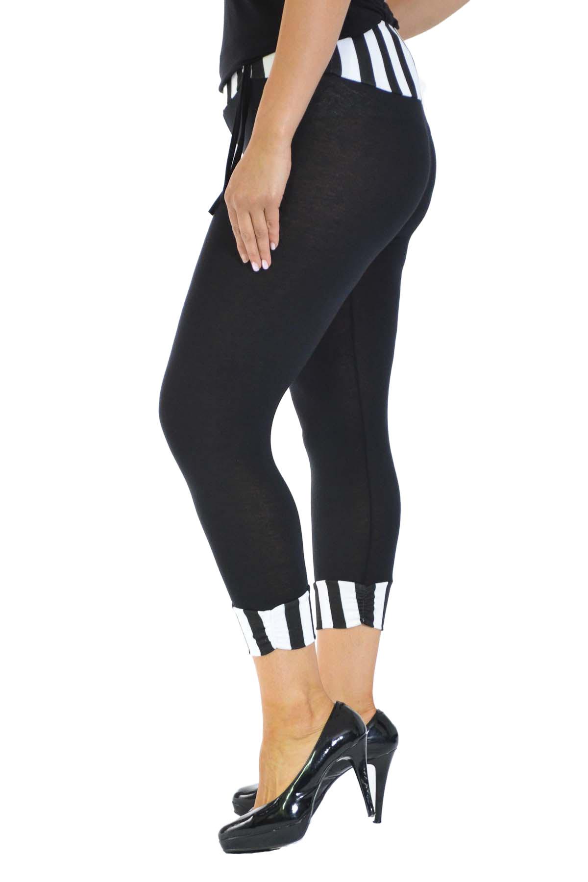 New-Womens-Plus-Size-Leggings-Ladies-Stripe-Print-Cropped-Trouser-Waist-Nouvelle thumbnail 3