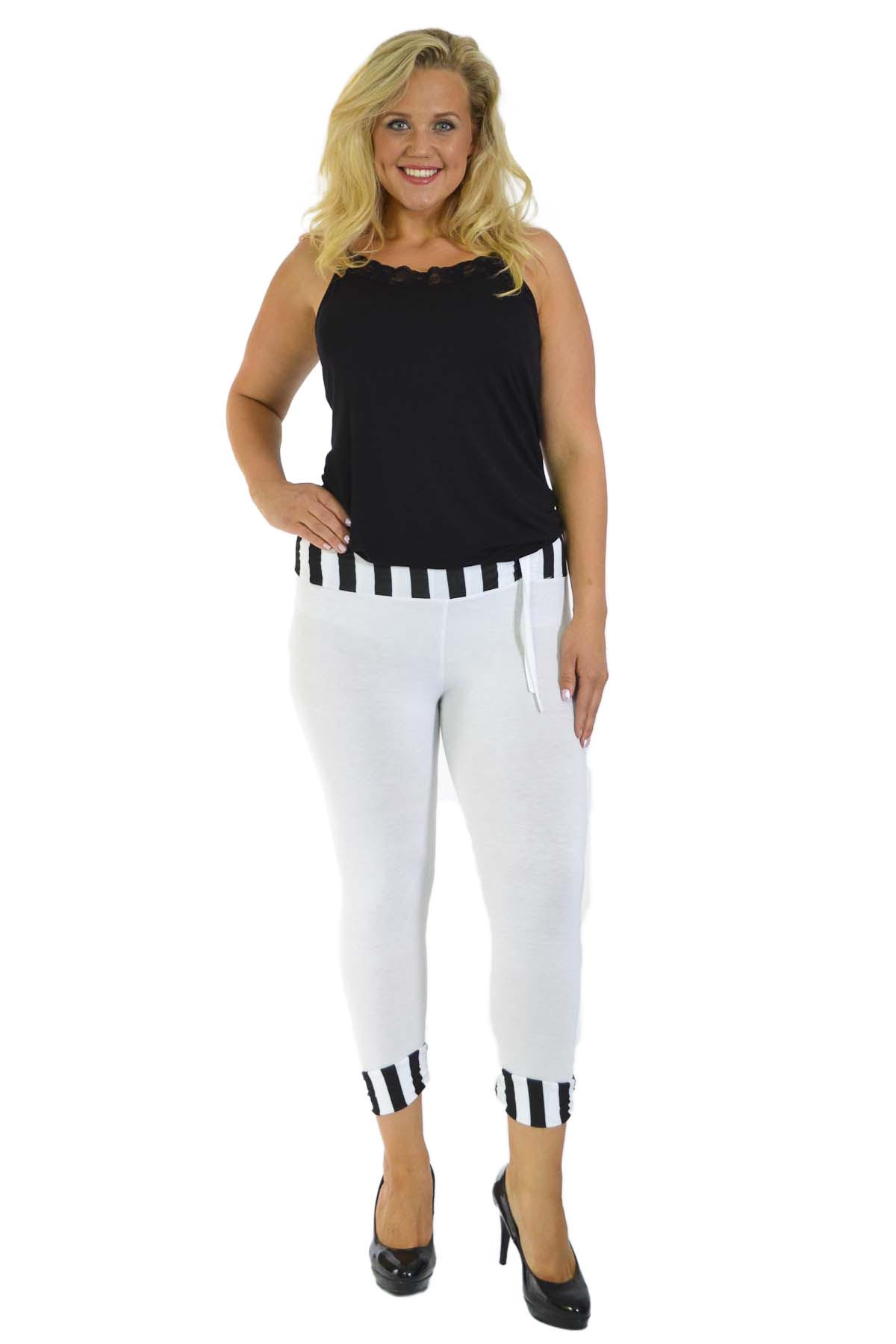 New-Womens-Plus-Size-Leggings-Ladies-Stripe-Print-Cropped-Trouser-Waist-Nouvelle thumbnail 5