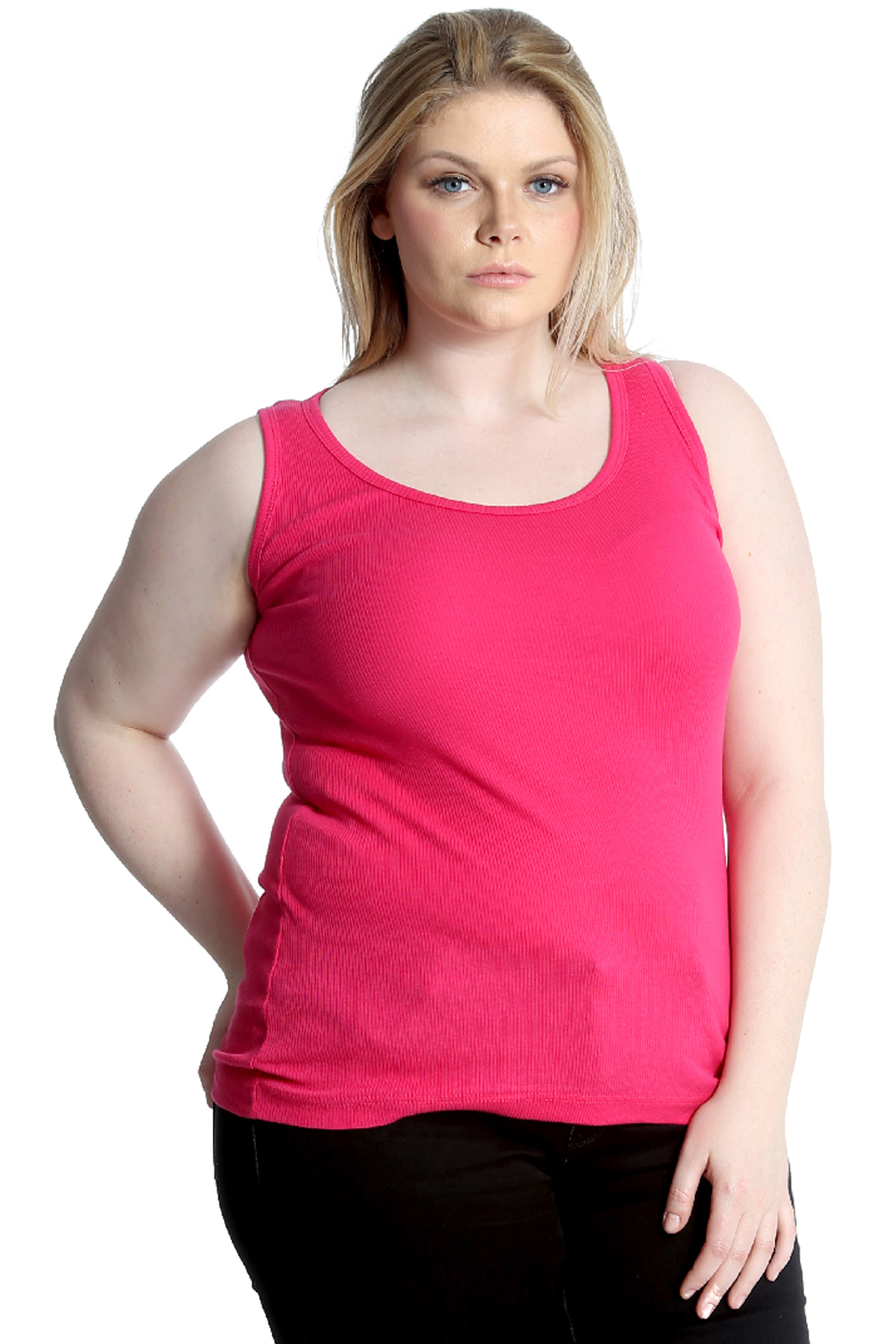 New Ladies Plus Size Vest Top Womens Camisole Ribbed ...