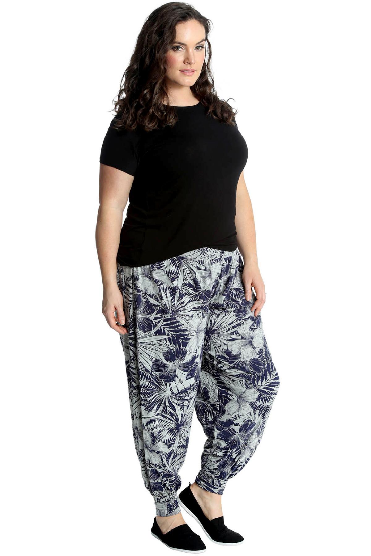 Nouveau dames grande taille pantalon harem floral paume for Arbre artificiel grande taille