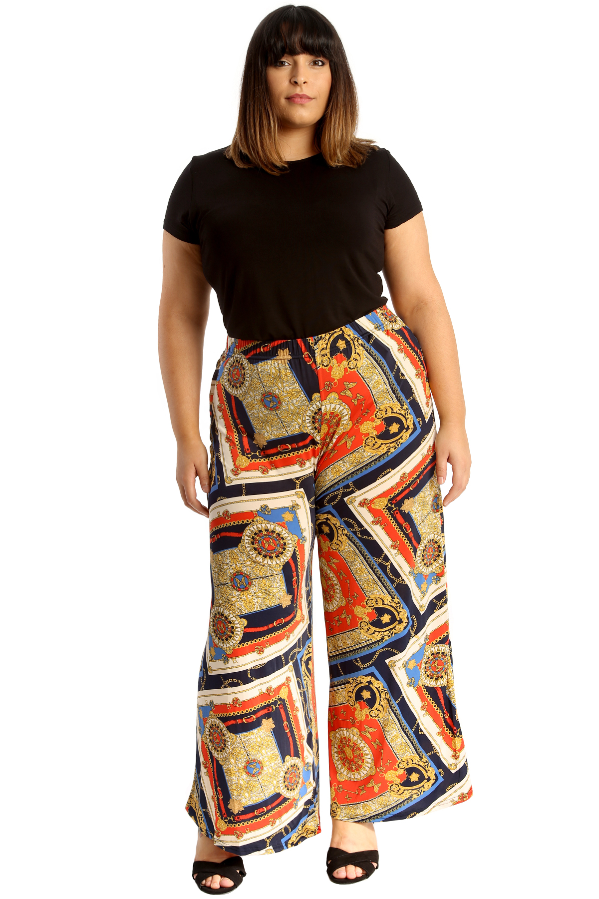 New Womens Plus Size Palazzo Trouser Ladies Abstract Print Wide Leg Bottom Pants