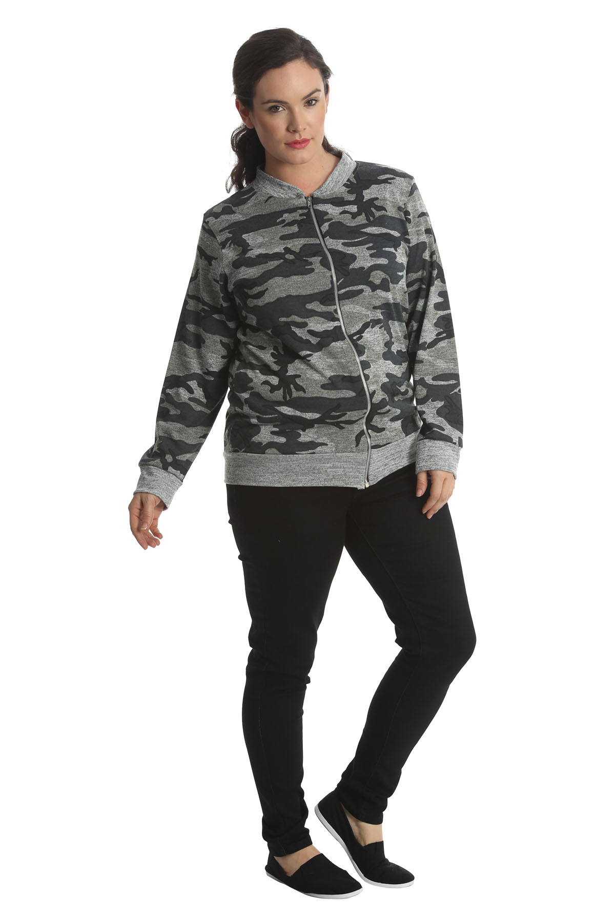New Ladies Jacket Womens Bomber Jacket Army Camouflage Print Plus Size Nouvelle
