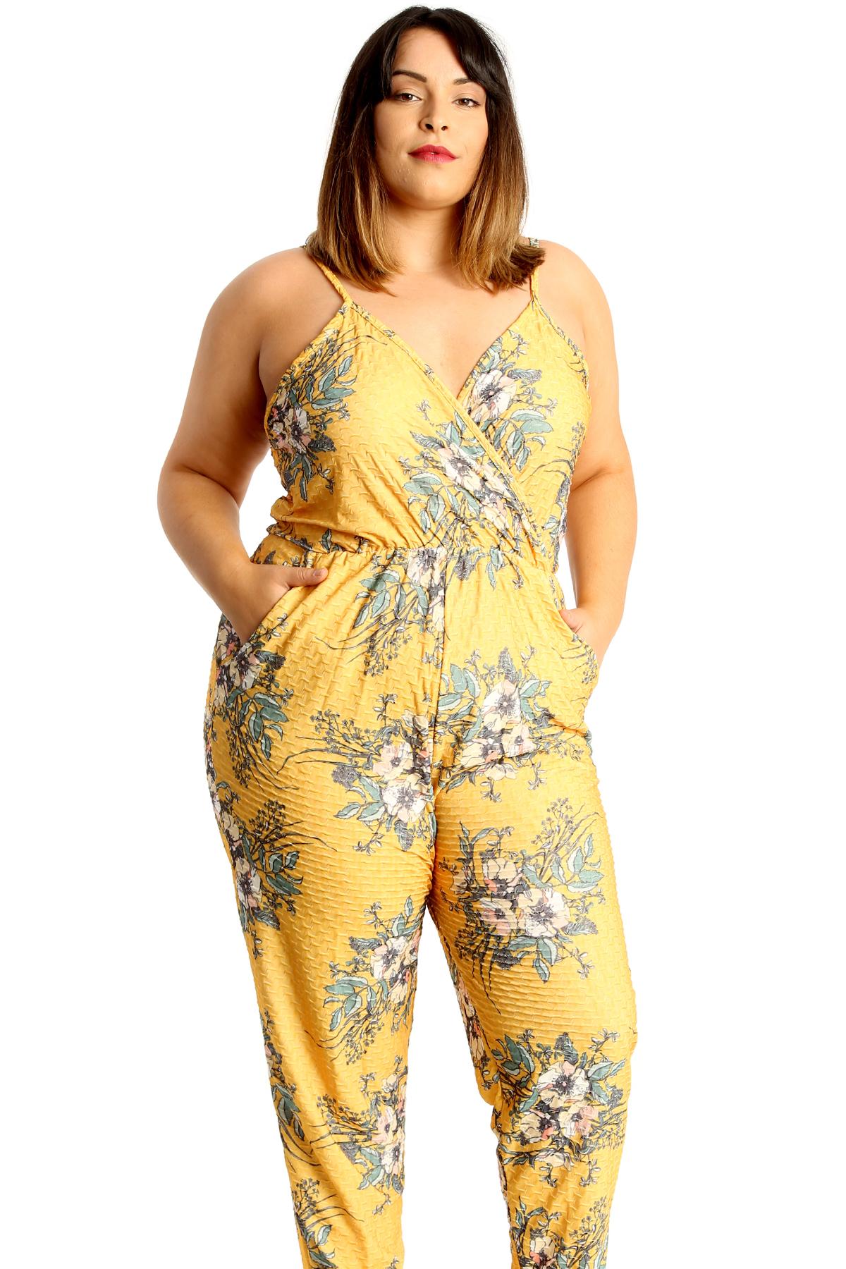 5e1488ada47 New Womens Plus Size Jumpsuit Ladies Floral Print Textured Side Pockets V- Neck