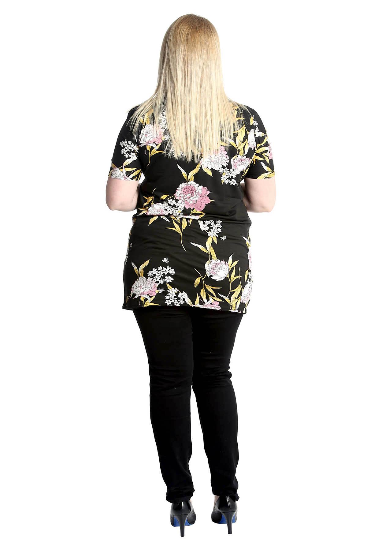 Kleidung & Accessoires New Womens Plus Size Top Ladies Floral Print Shirt Choker Neck Tunic Nouvelle