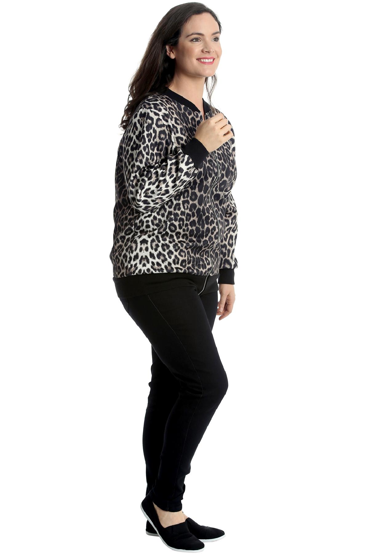New Womens Plus Size Bomber Jacket Ladies Leopard Animal Print Ribbed Varsity