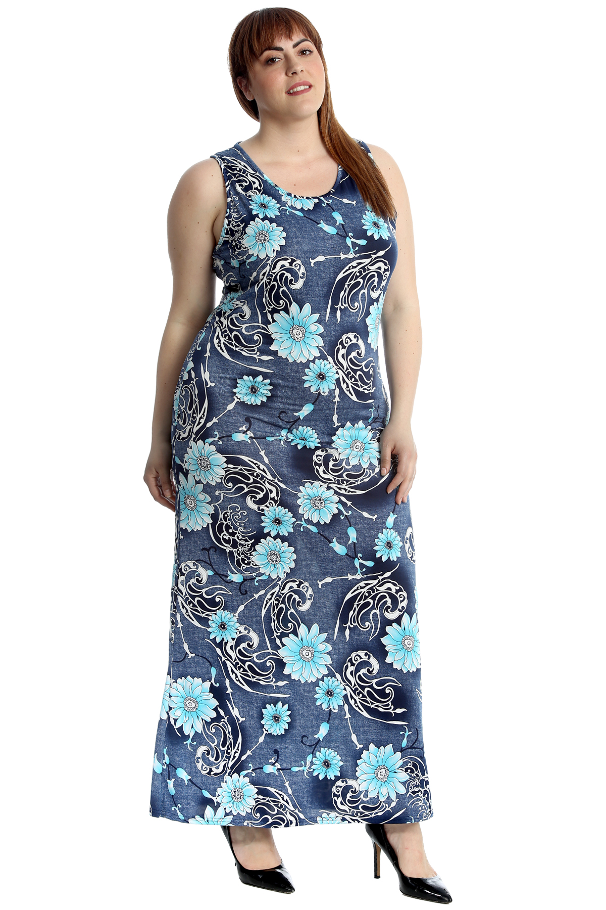 Details about New Womens Plus Size Maxi Dress Ladies Floral Print  Sleeveless Full Length Sale