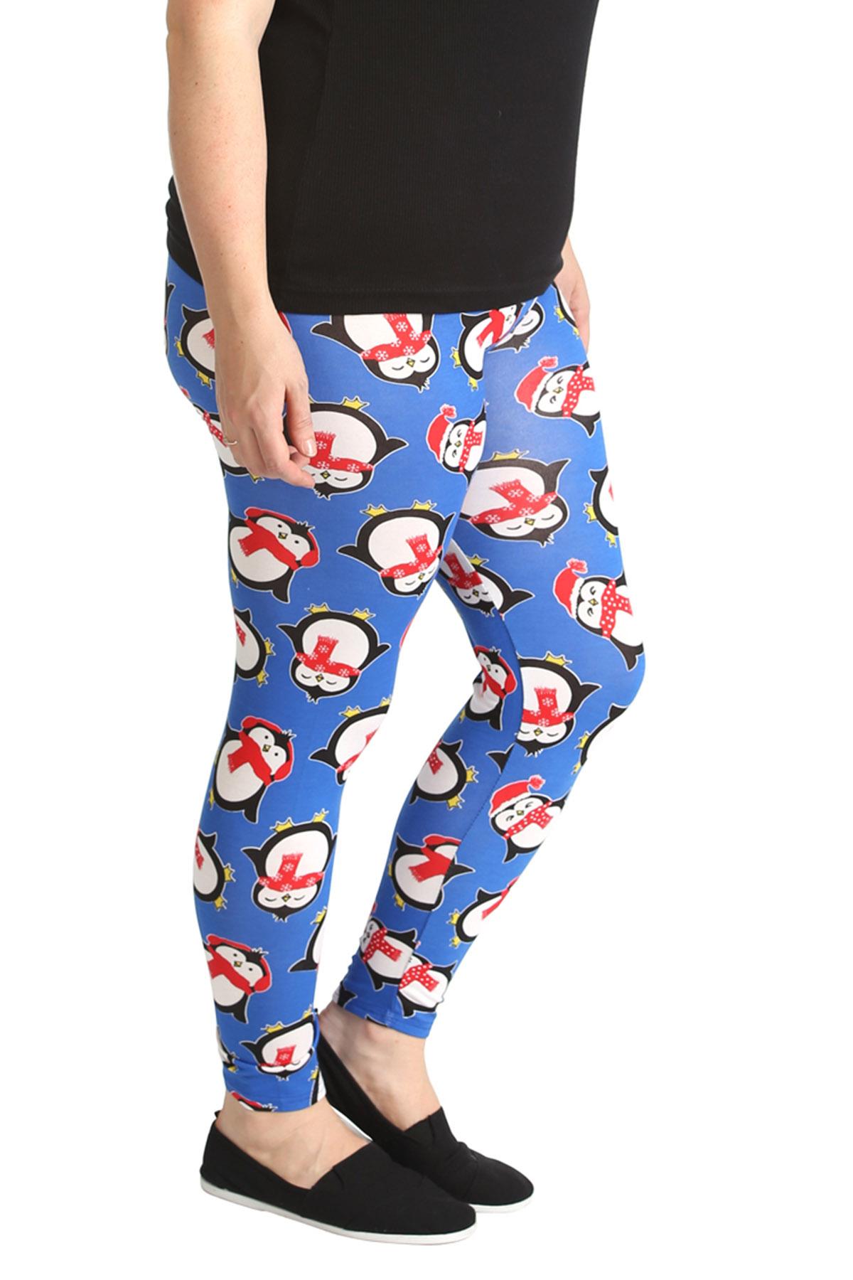 ladies leggings penguin print womens christmas full length
