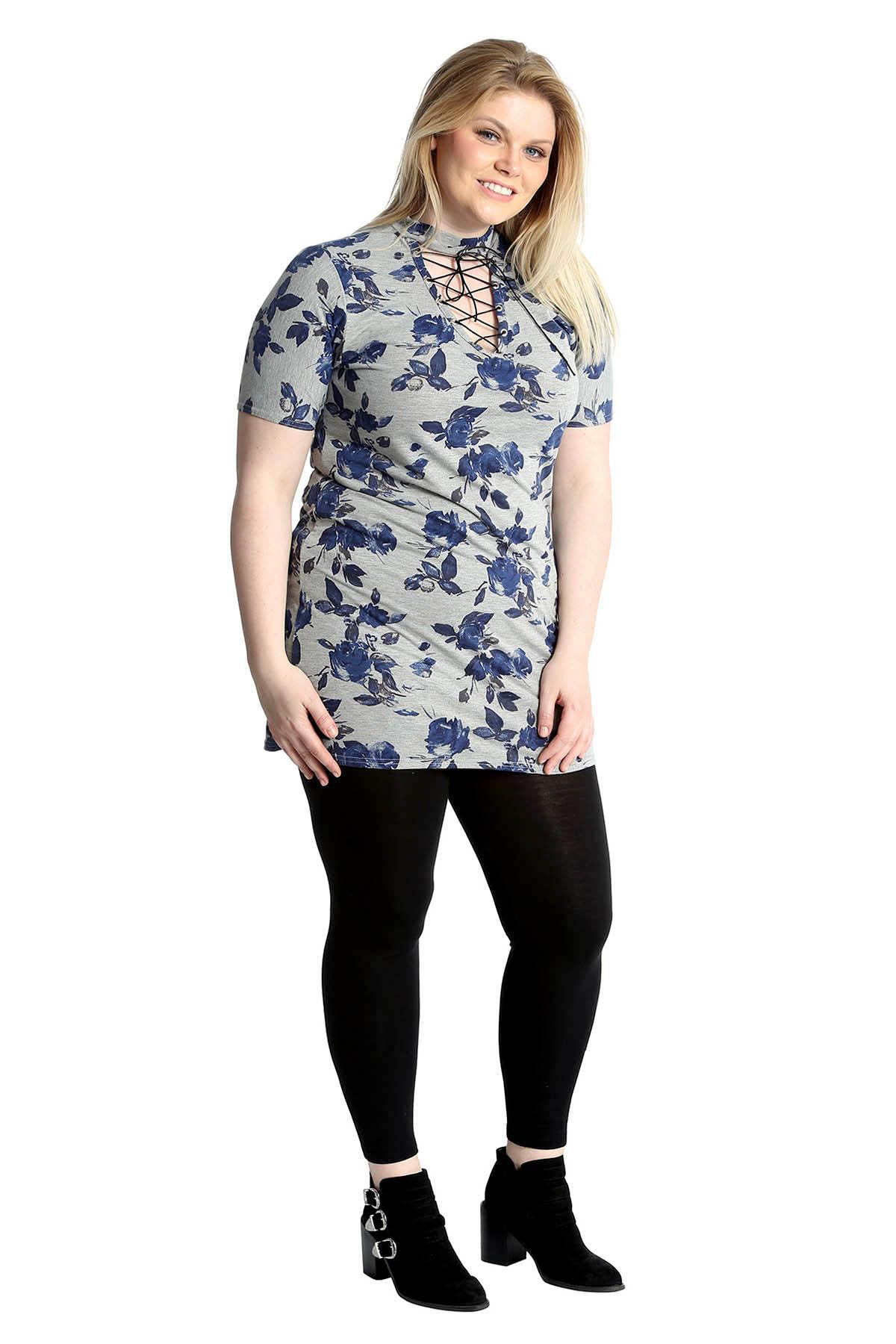 16510e98eab New Womens Plus Size Top Ladies T-Shirt Floral Print Eyelets Choker ...