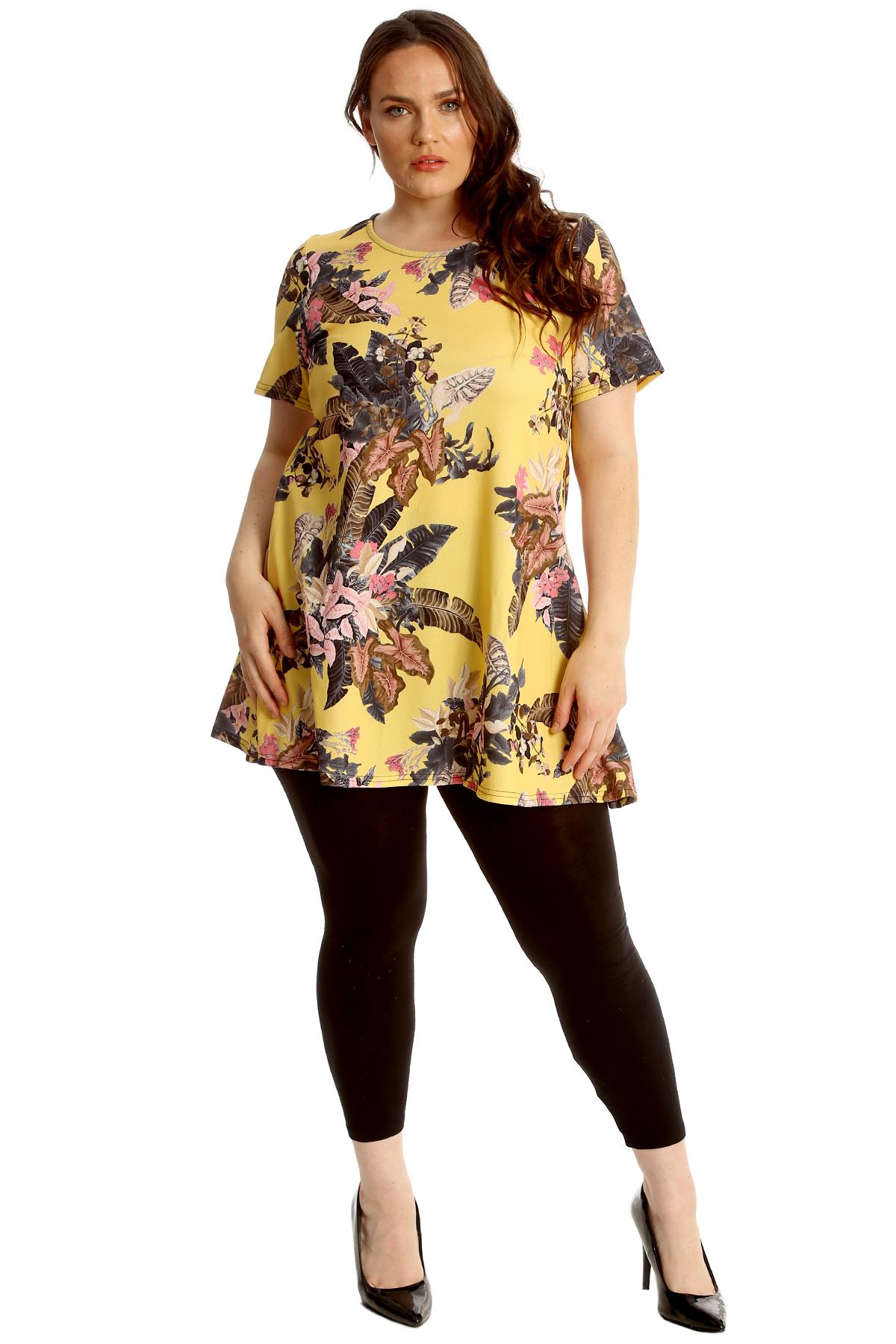 New Ladies Women Plain Short Sleeves Swing Tunic Top Plus Sizes 14-24