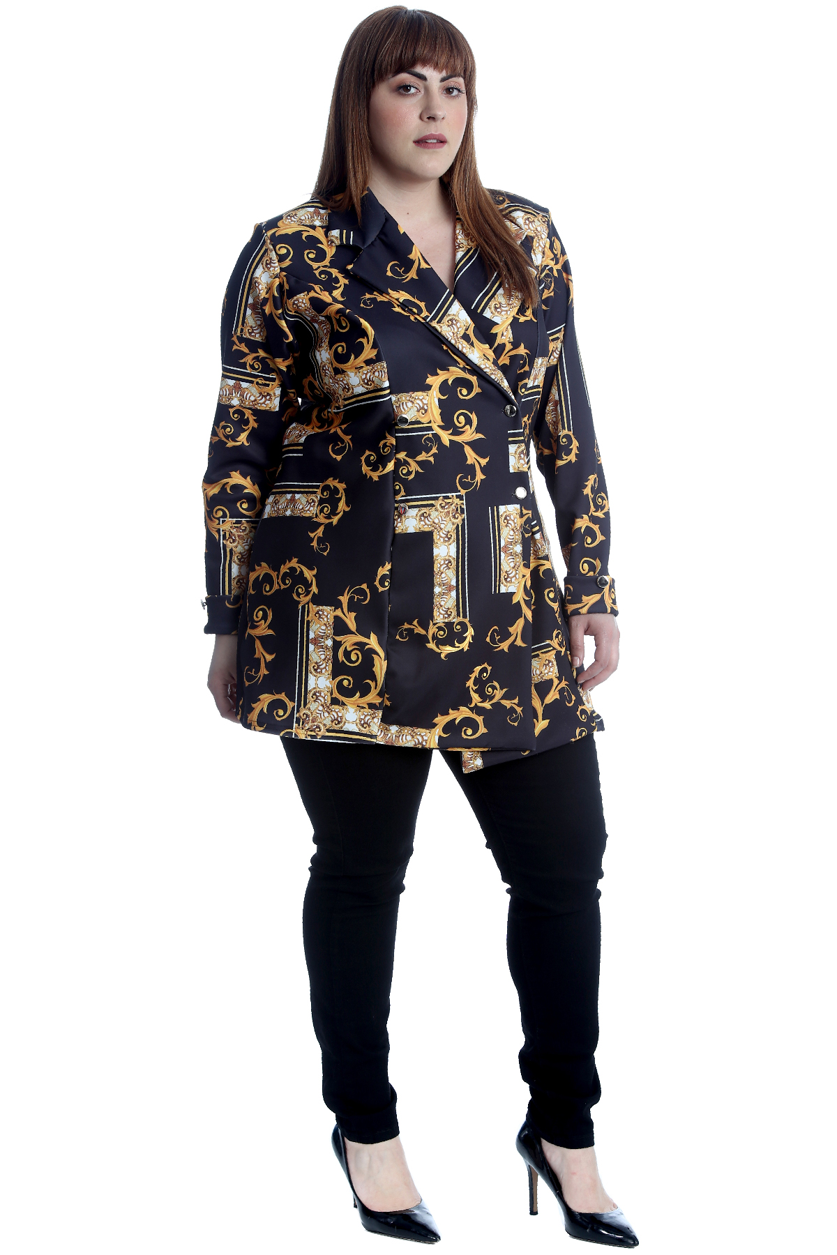 New Womens Plus Size Blazer Ladies Coat Abstract Paisley Jacket Party Formal