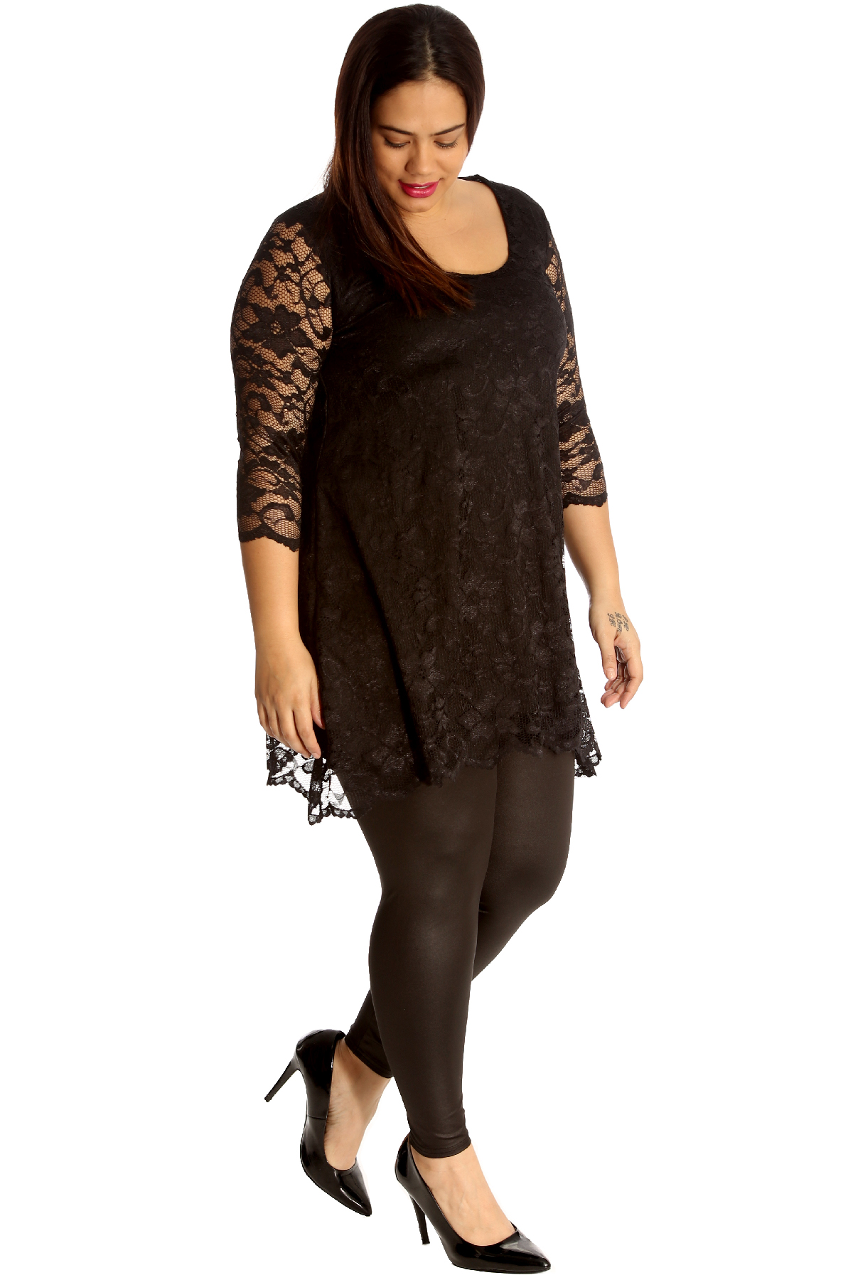 Neuf-Mesdames-Grand-Taille-Robe-Femmes-Tunique-Floral-Lacet-Coquille-Haut-Vente