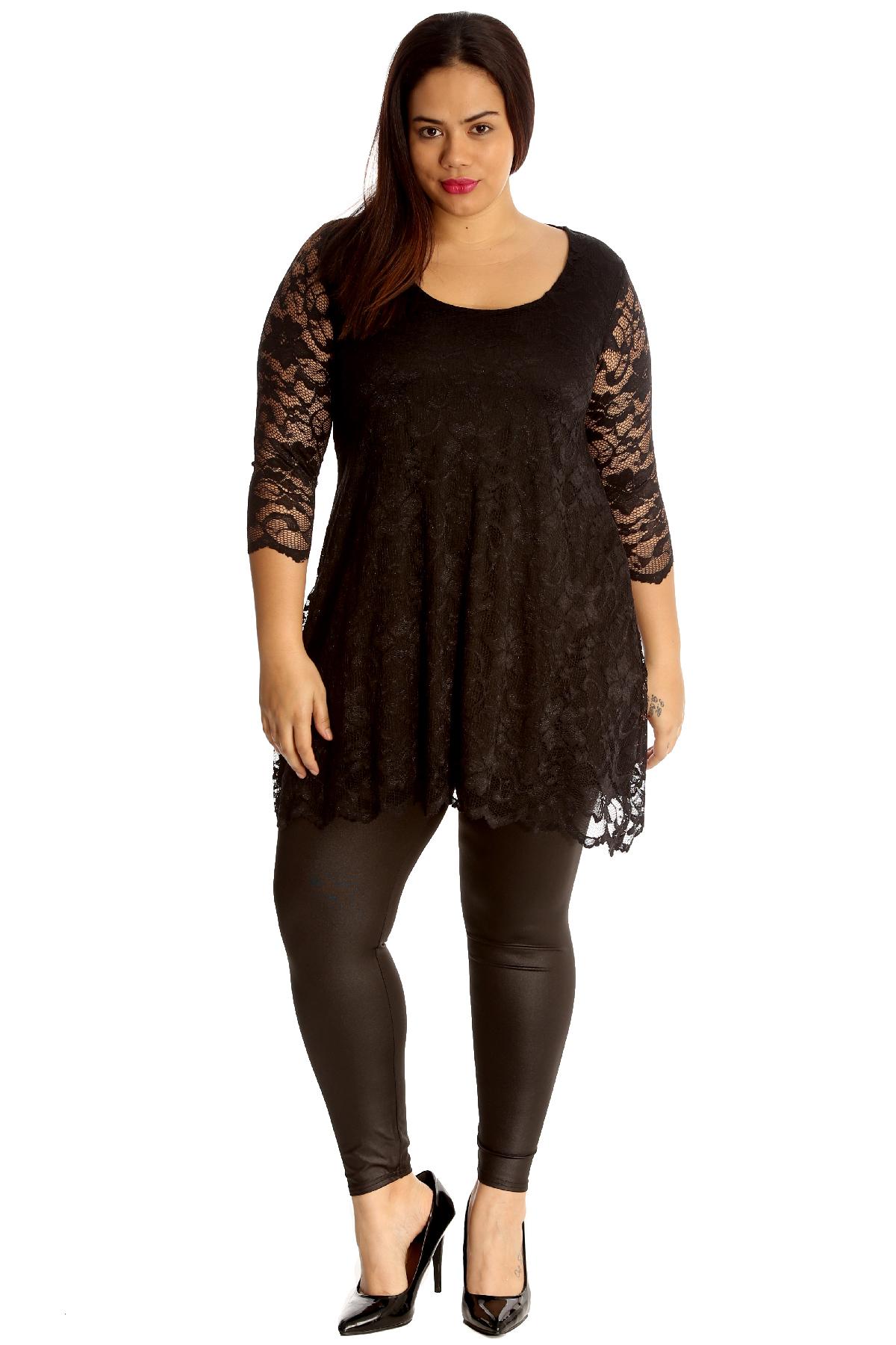 New Womens Plus Size Dress Ladies Tunic Blouse Floral Lace ...