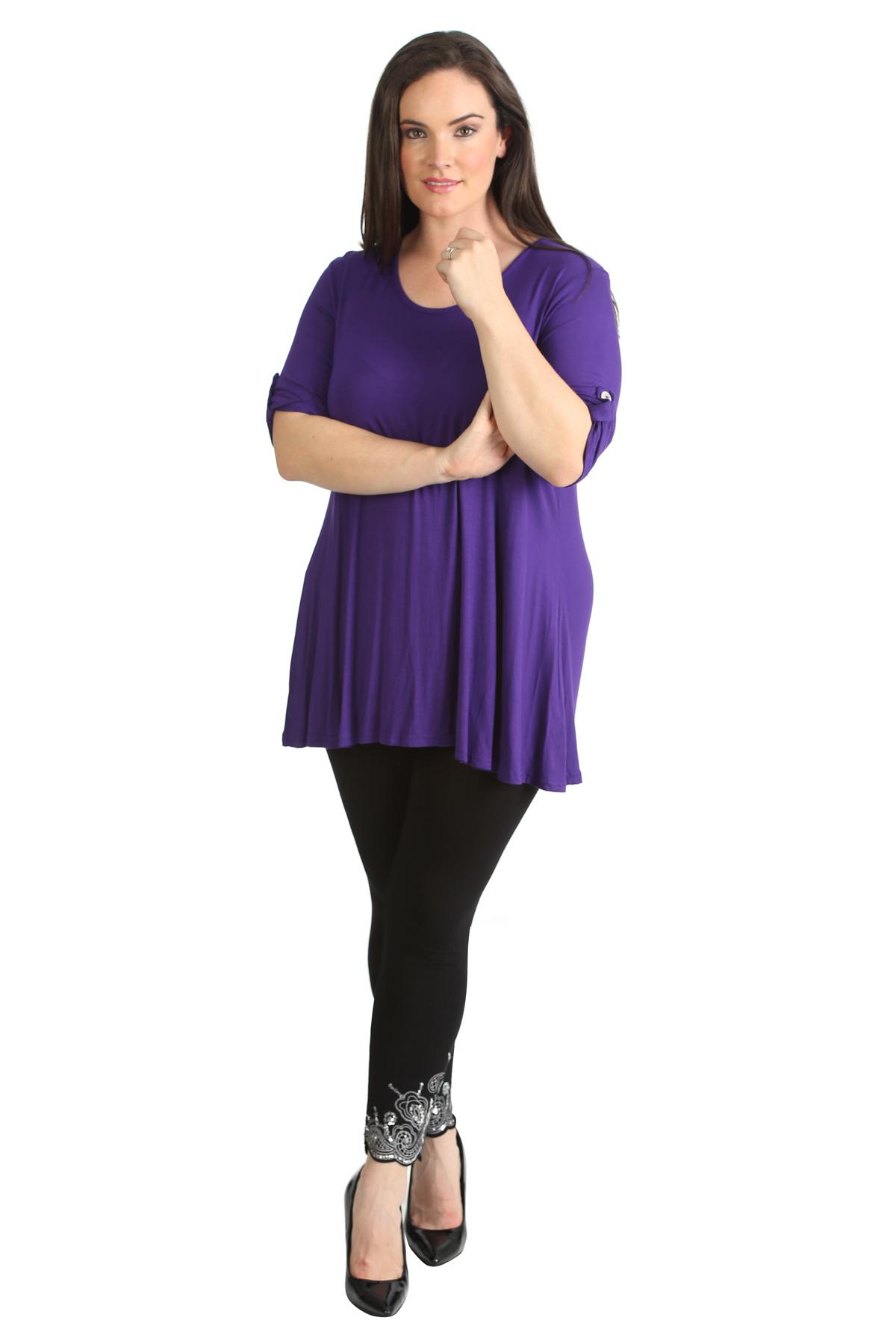 New Womens Plus Size Top Ladies Plain Tunic 3//4 Button Sleeve T-Shirt Nouvelle