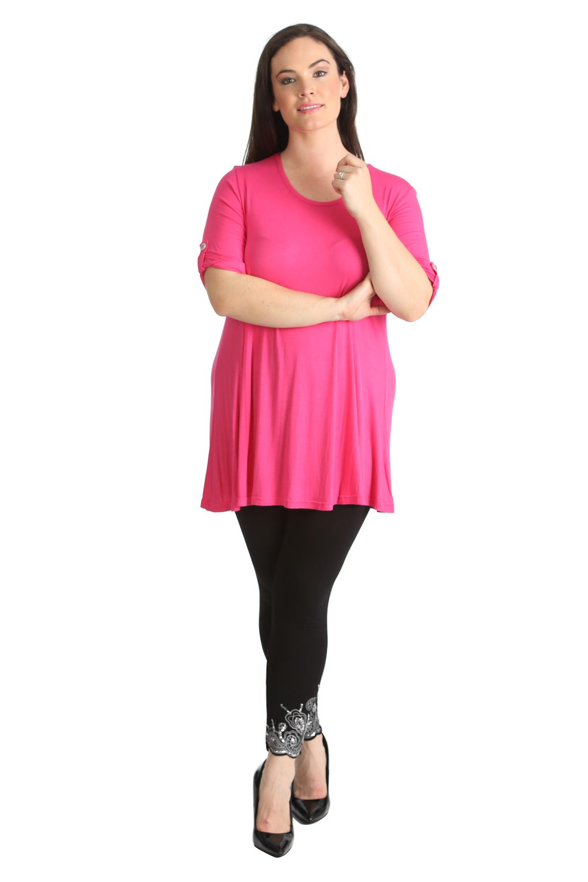 New Womens Plain Classic Shirt 3//4 Sleeve Summer Shirt Nouvelle Plus Size
