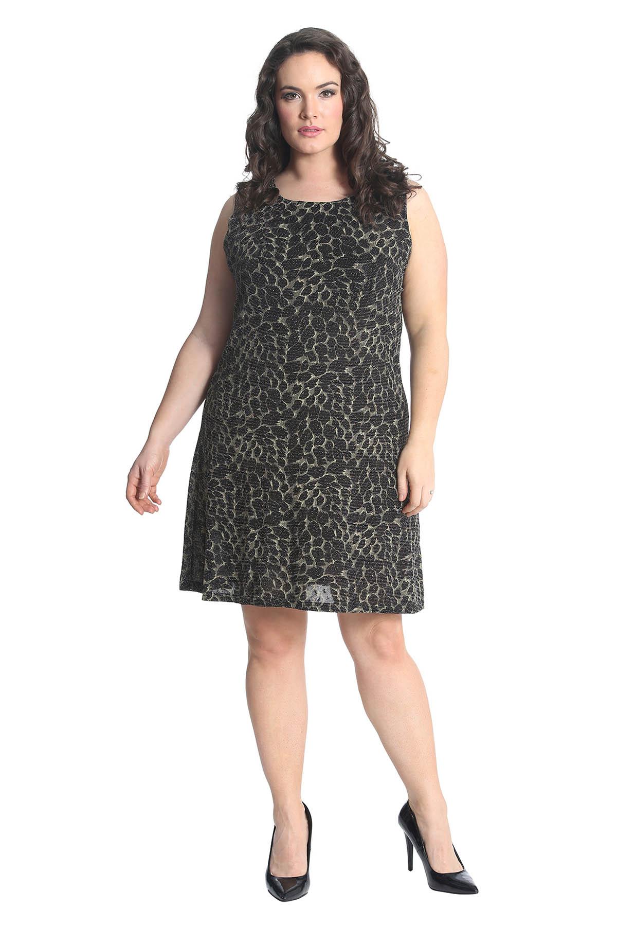 New Ladies Plus Size Dress Womens Floral Glitter Print ...