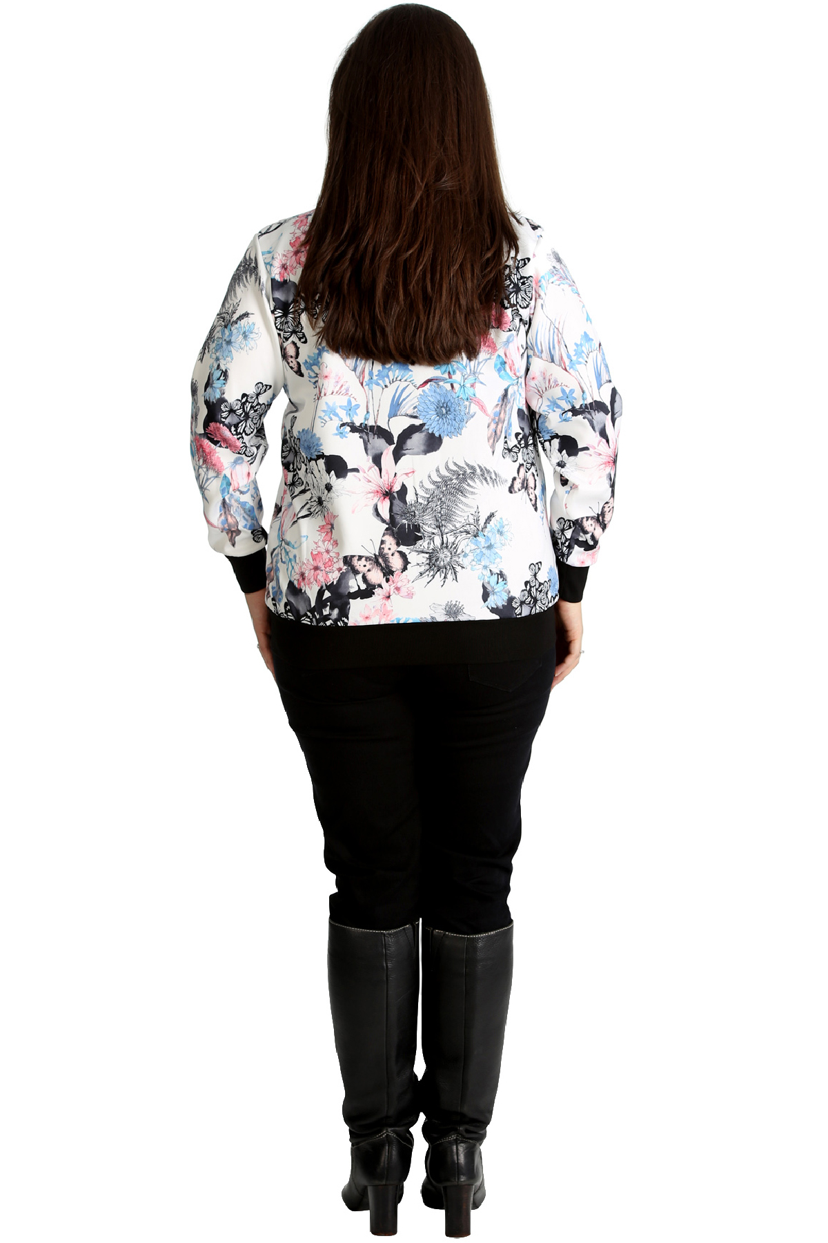 New-Womens-Bomber-Jacket-Plus-Size-Ladies-Butterfly-Floral-Print-Ribbed-Style
