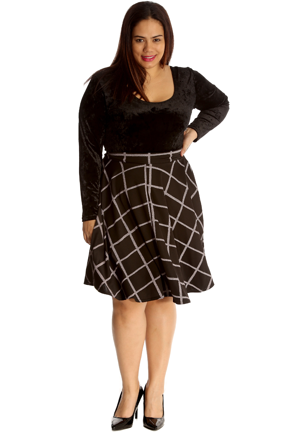 9fa852a3a2 New Womens Plus Size Skirt Ladies Skater Check Tartan Print Knee ...