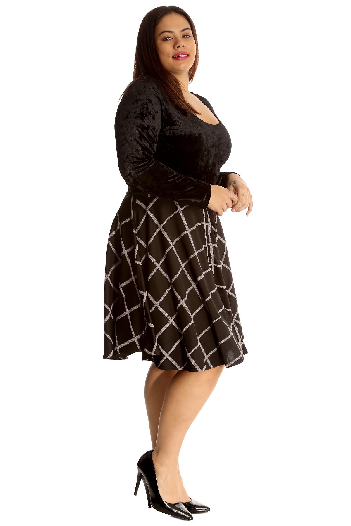 Kleidung & Accessoires Damenmode New Womens Plus Size Skirt Ladies Skater Tartan Check Print Knee Long Elastic