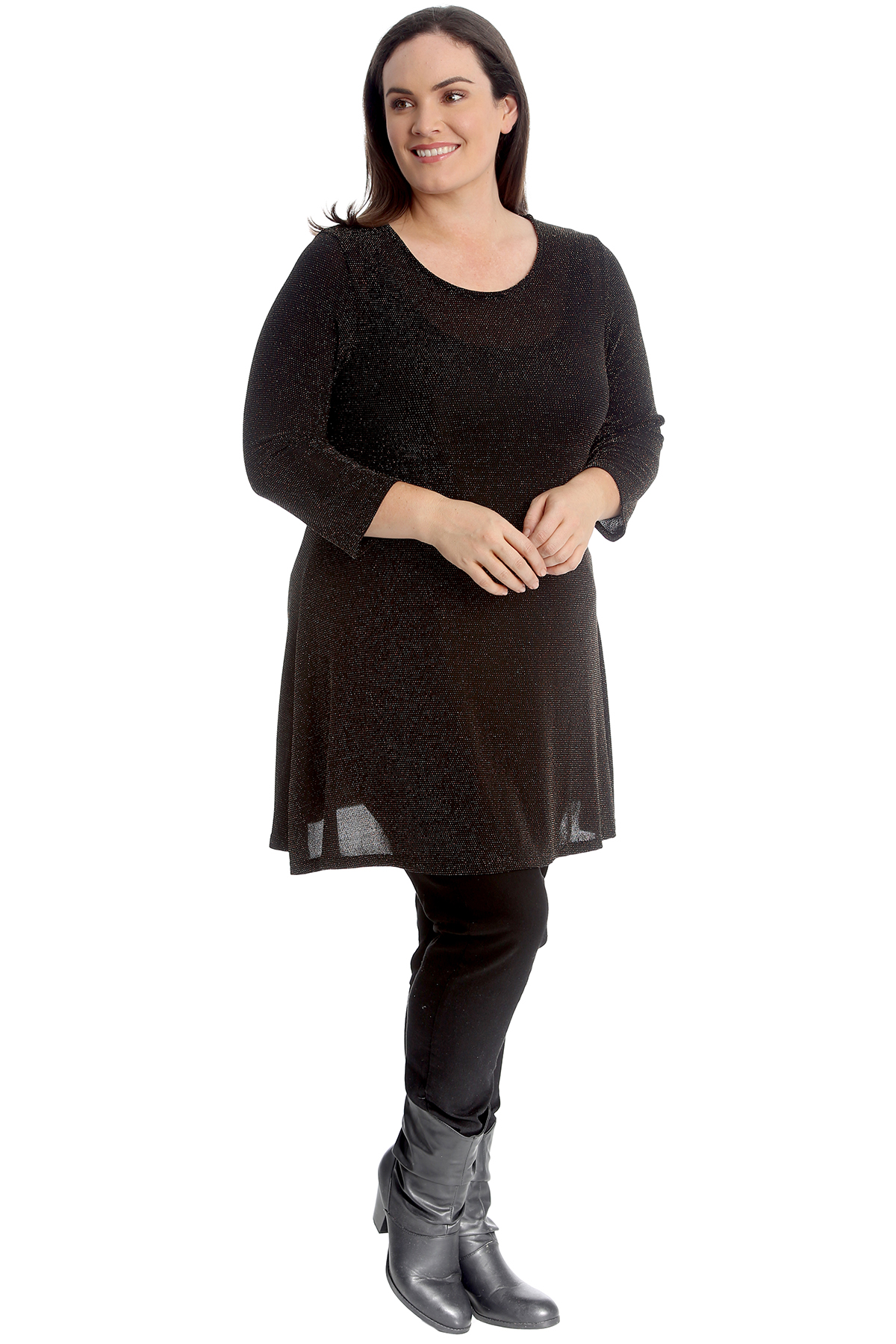 New Womens Ladies Plus Size Lace Over Shiny Sequin Lined Tunic Top